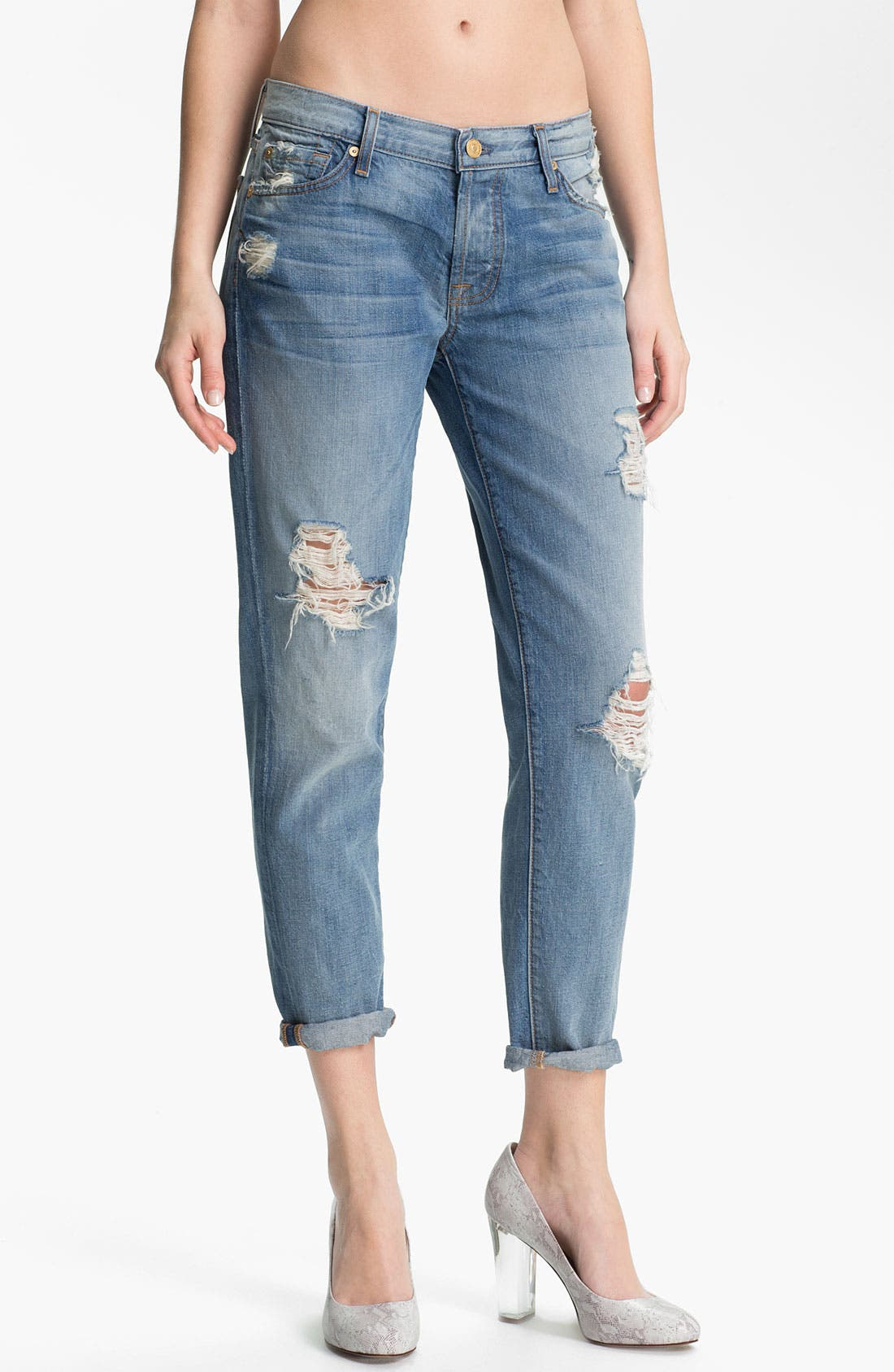 Alternate Image 1 Selected - 7 For All Mankind® 'Josefina' Crop Jeans (Light Destroyed)