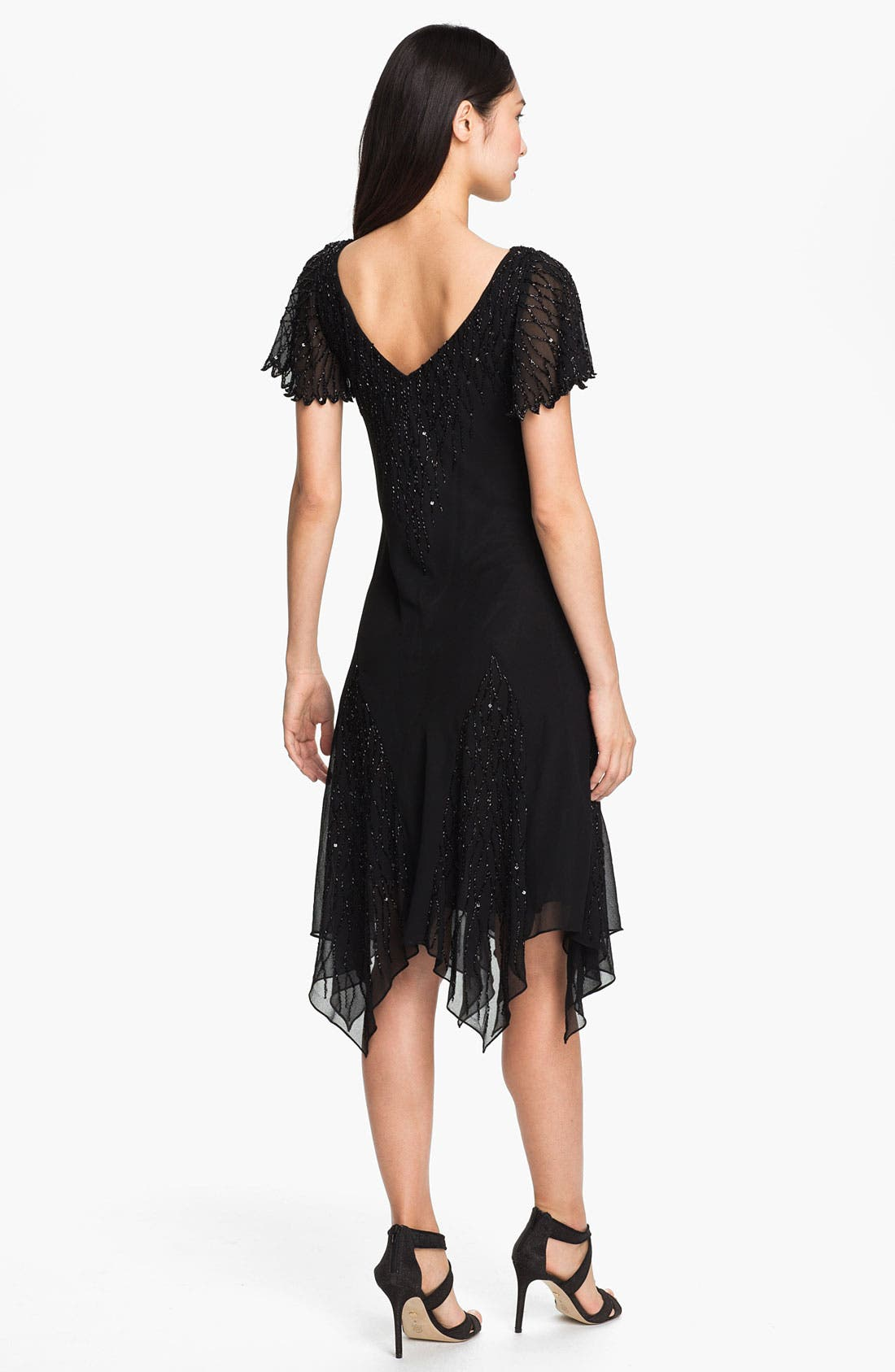 Alternate Image 2  - J Kara Beaded Bodice Drop Waist Chiffon Dress