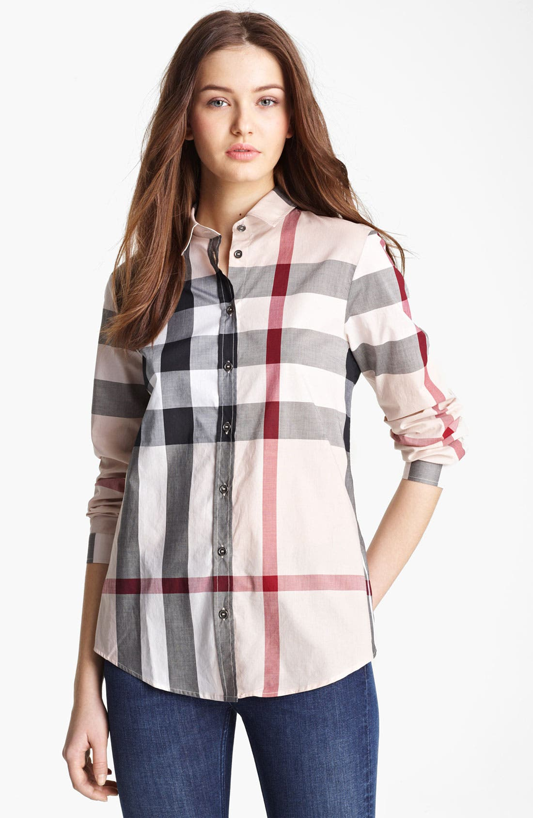 Check Woven Shirt,                             Main thumbnail 1, color,                             Nova