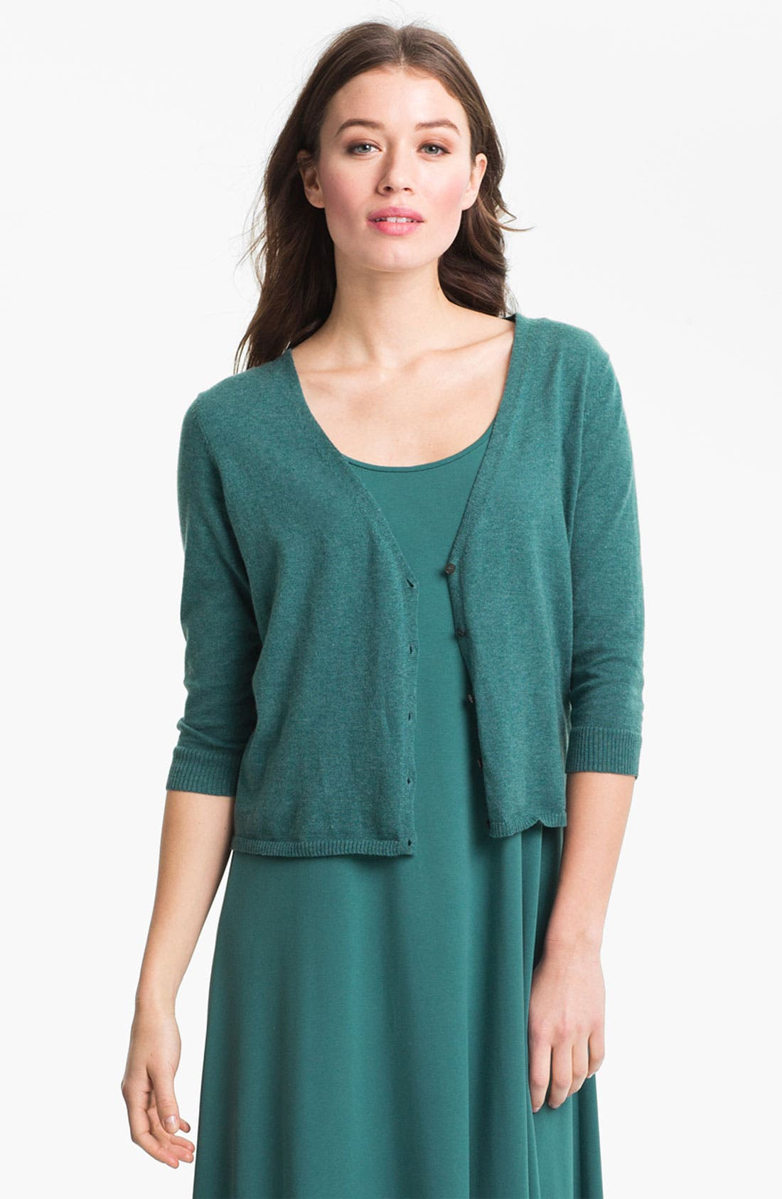 Main Image - Eileen Fisher Organic Cotton & Cashmere Crop Cardigan (Online Only)