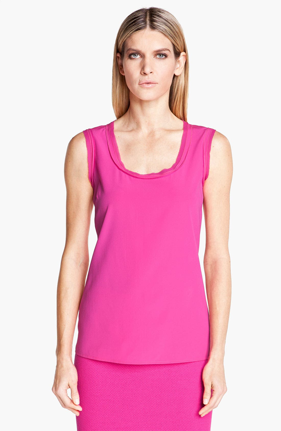 Alternate Image 1 Selected - St. John Collection Frayed Trim Stretch Silk Top