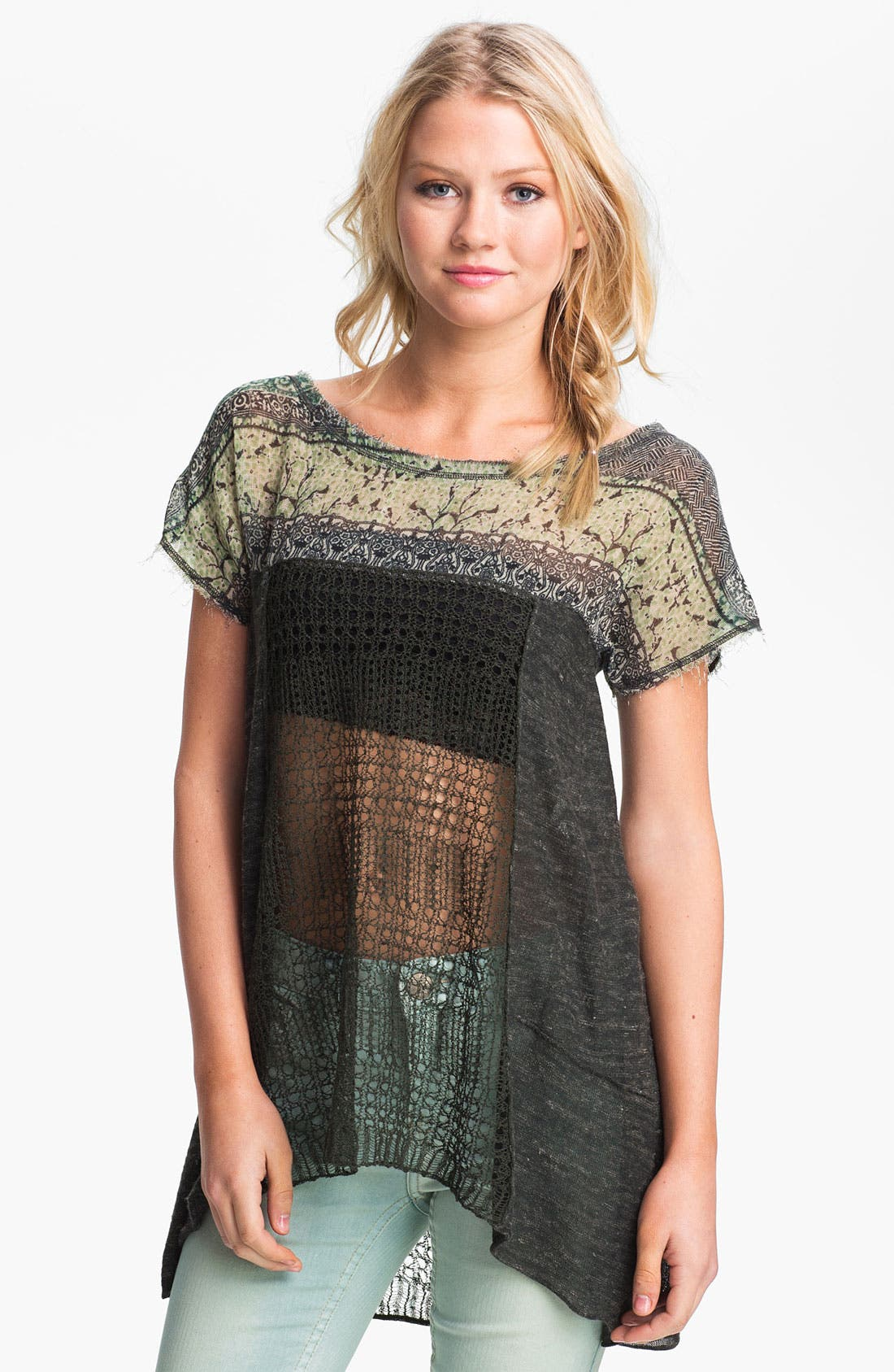 Alternate Image 1 Selected - Free People 'Call Me Flower' Mix Media Tunic
