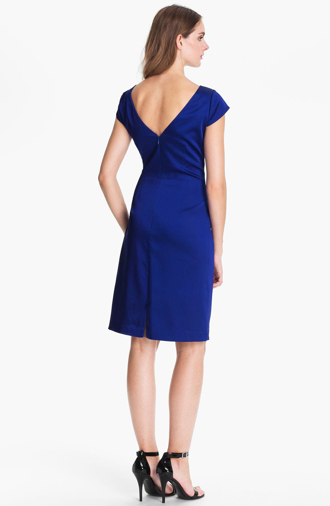 Alternate Image 2  - Kay Unger Ruched Satin Sheath Dress