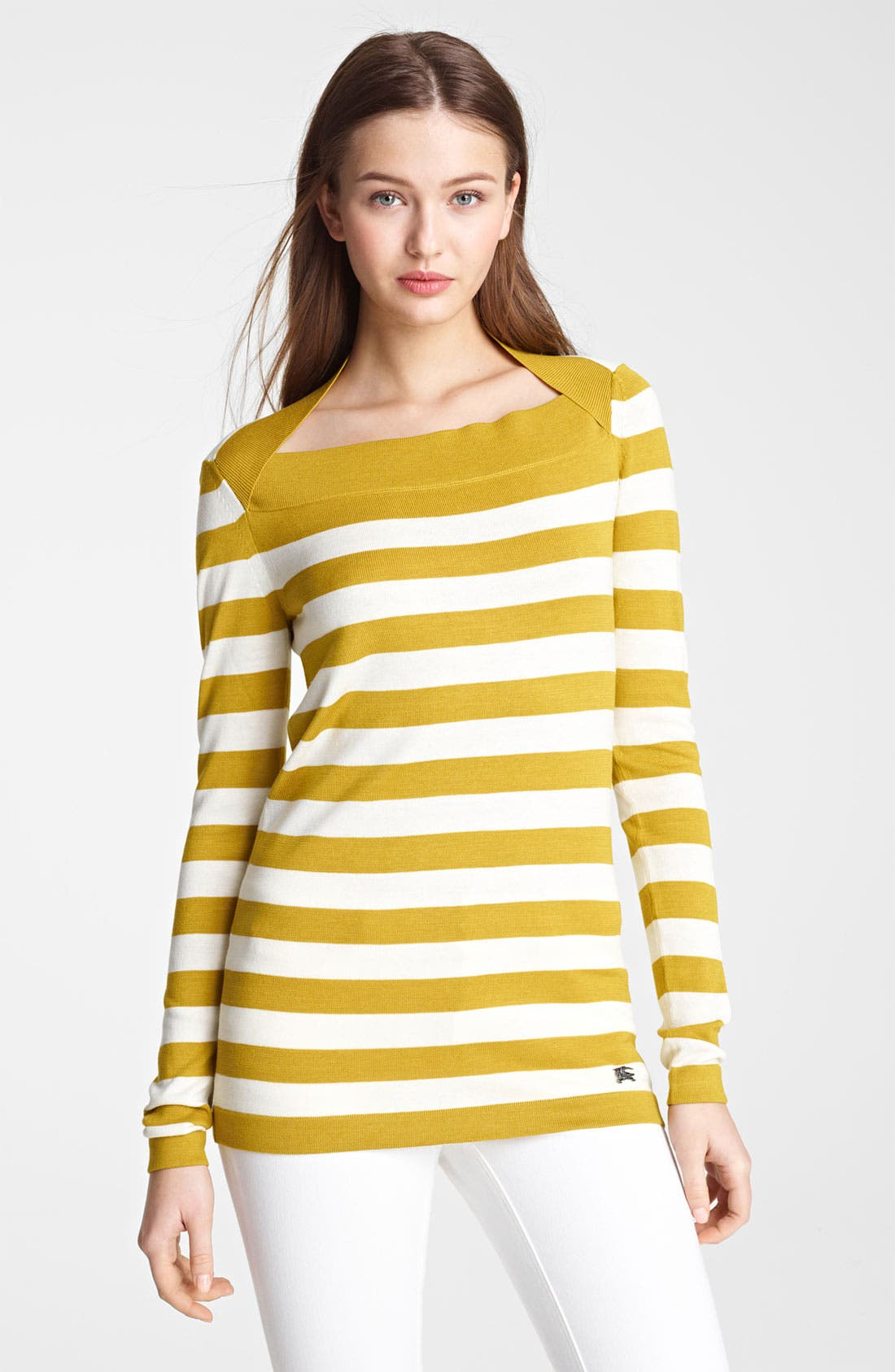 Alternate Image 1 Selected - Burberry London Stripe Silk & Cotton Top