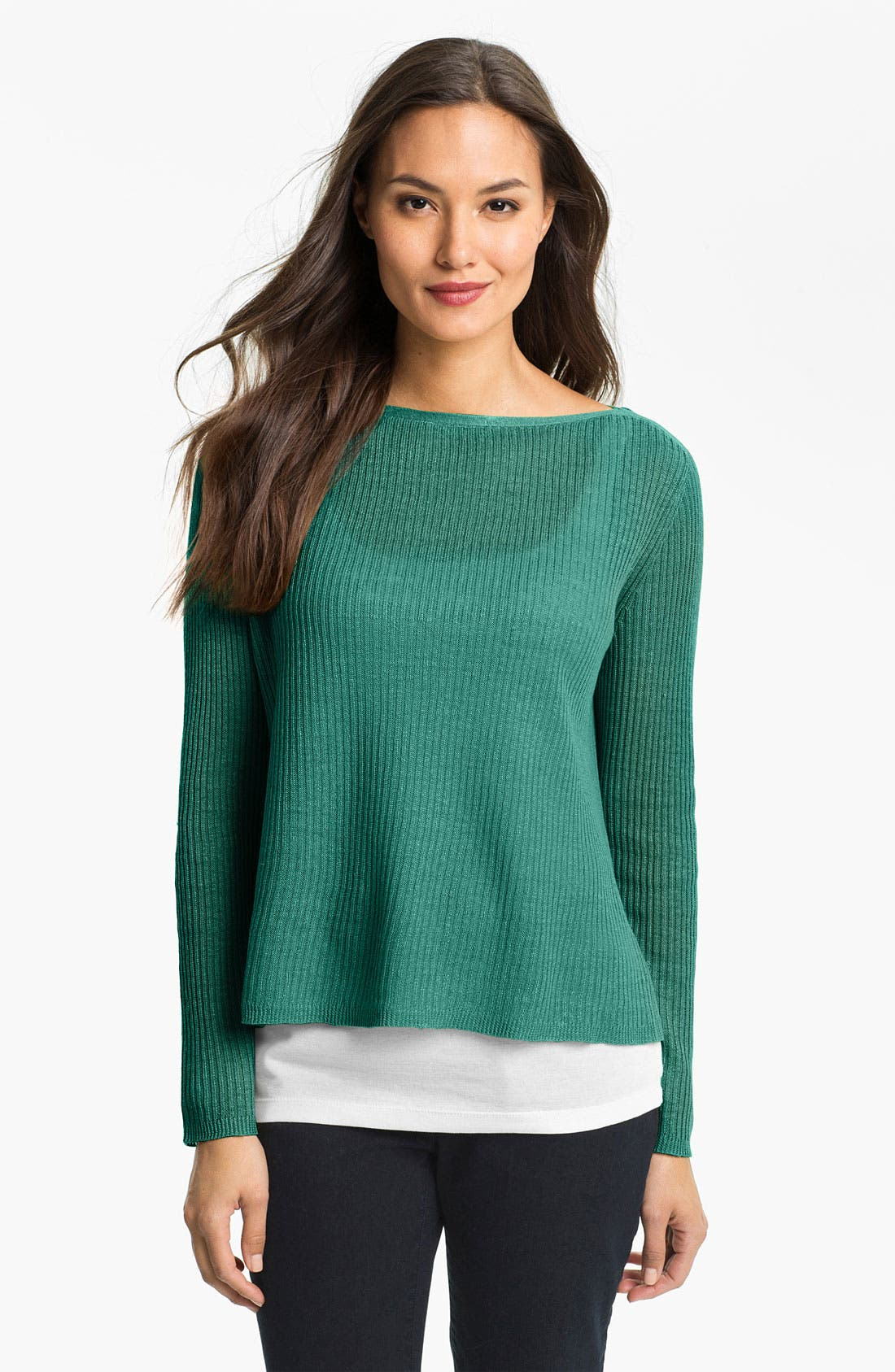 Alternate Image 1 Selected - Eileen Fisher Ribbed Linen Top (Petite)
