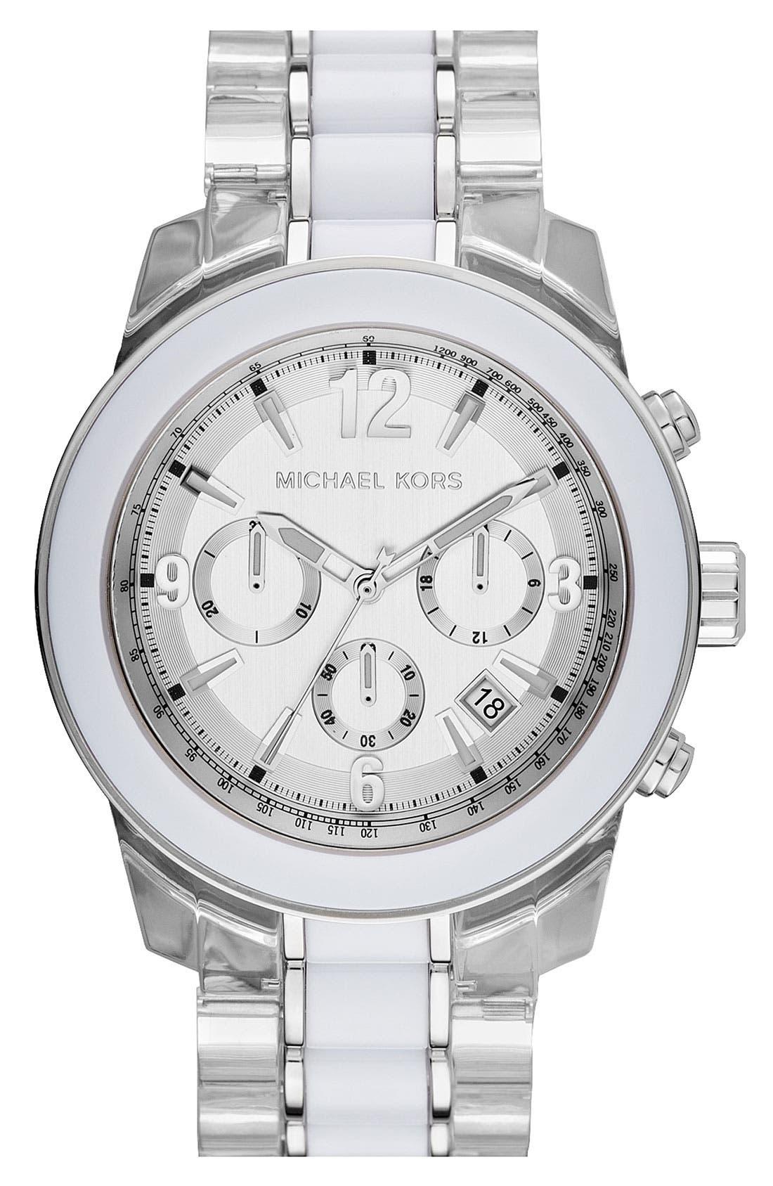 Main Image - Michael Kors 'Preston' Two Tone Chronograph Bracelet Watch, 45mm