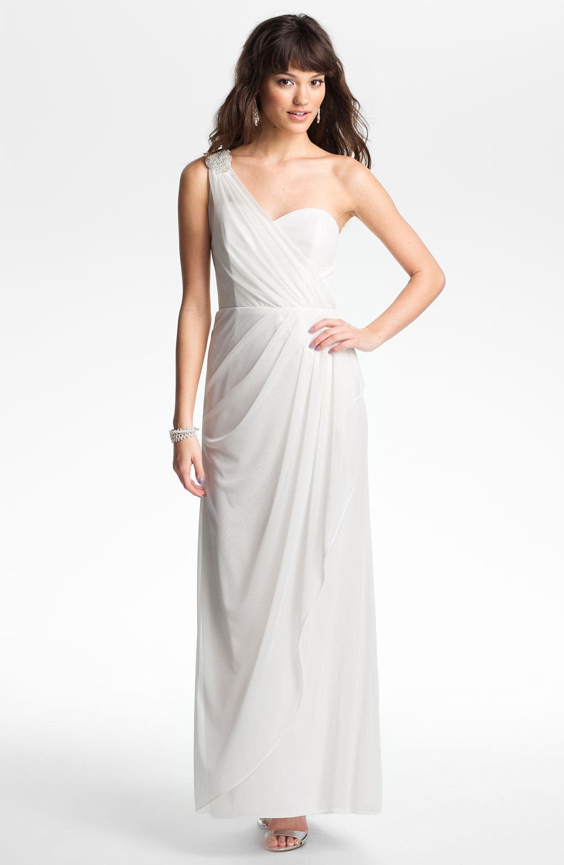 Main Image - Xscape Beaded One Shoulder Sheer Mesh Gown