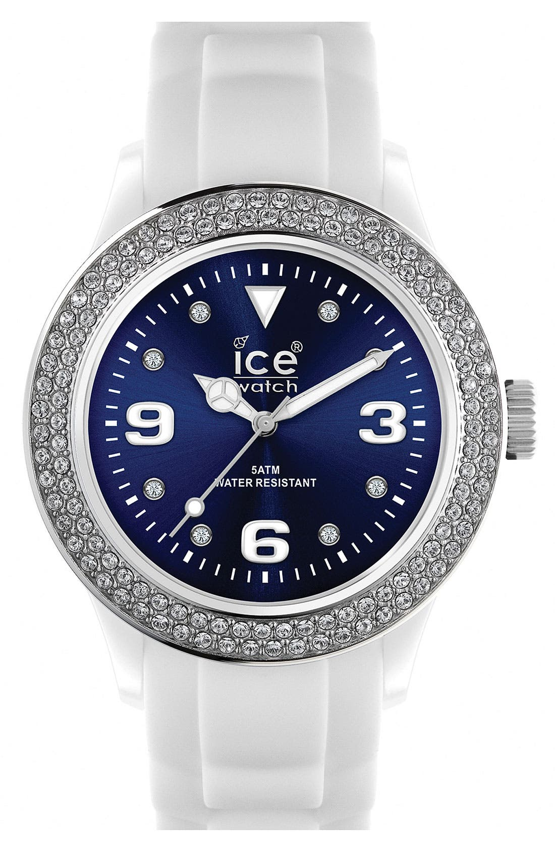 Color Dial Crystal Bezel Watch, 43mm,                         Main,                         color, White/ Blue