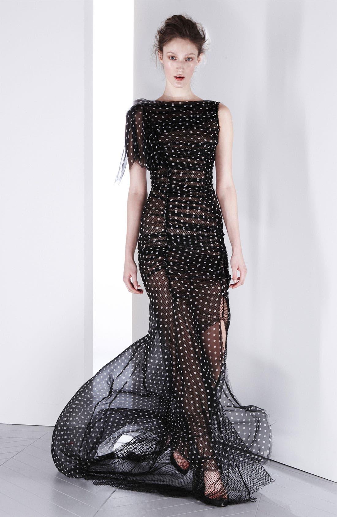 Main Image - Nina Ricci Draped Silk & Net Gown