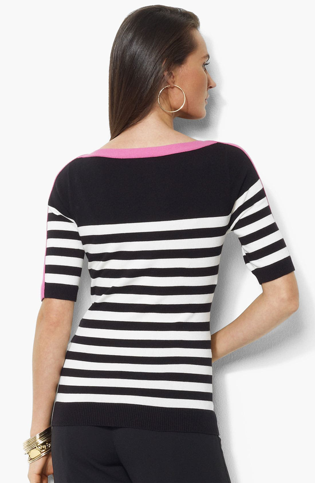 Alternate Image 2  - Lauren Ralph Lauren Bateau Neck Stripe Sweater