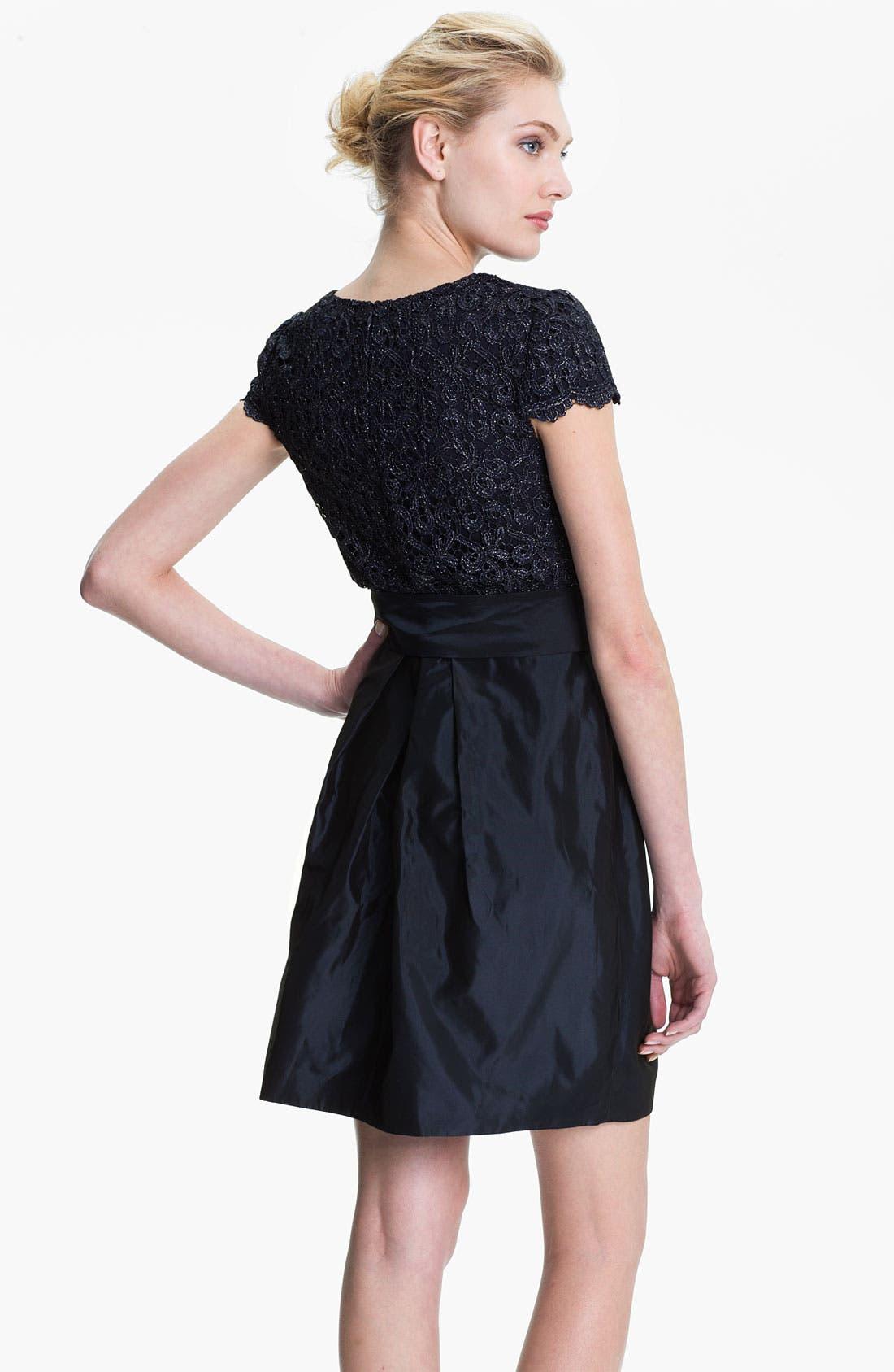 Alternate Image 2  - Suzi Chin for Maggy Boutique Lace & Taffeta Dress (Petite)