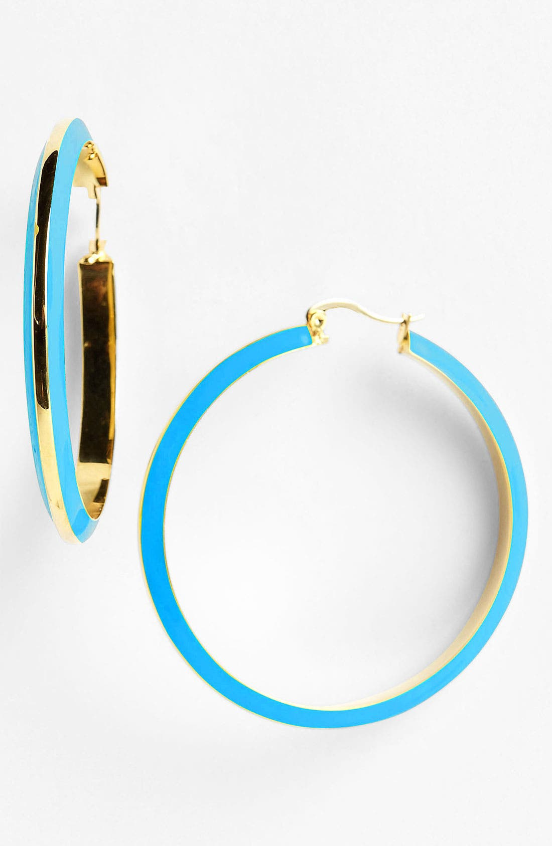 Alternate Image 1 Selected - Vince Camuto Knife Edge Enamel Hoop Earrings