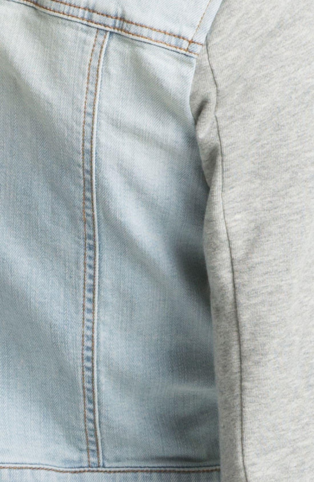 Alternate Image 4  - Rubbish® Jersey Sleeve Denim Jacket (Juniors)