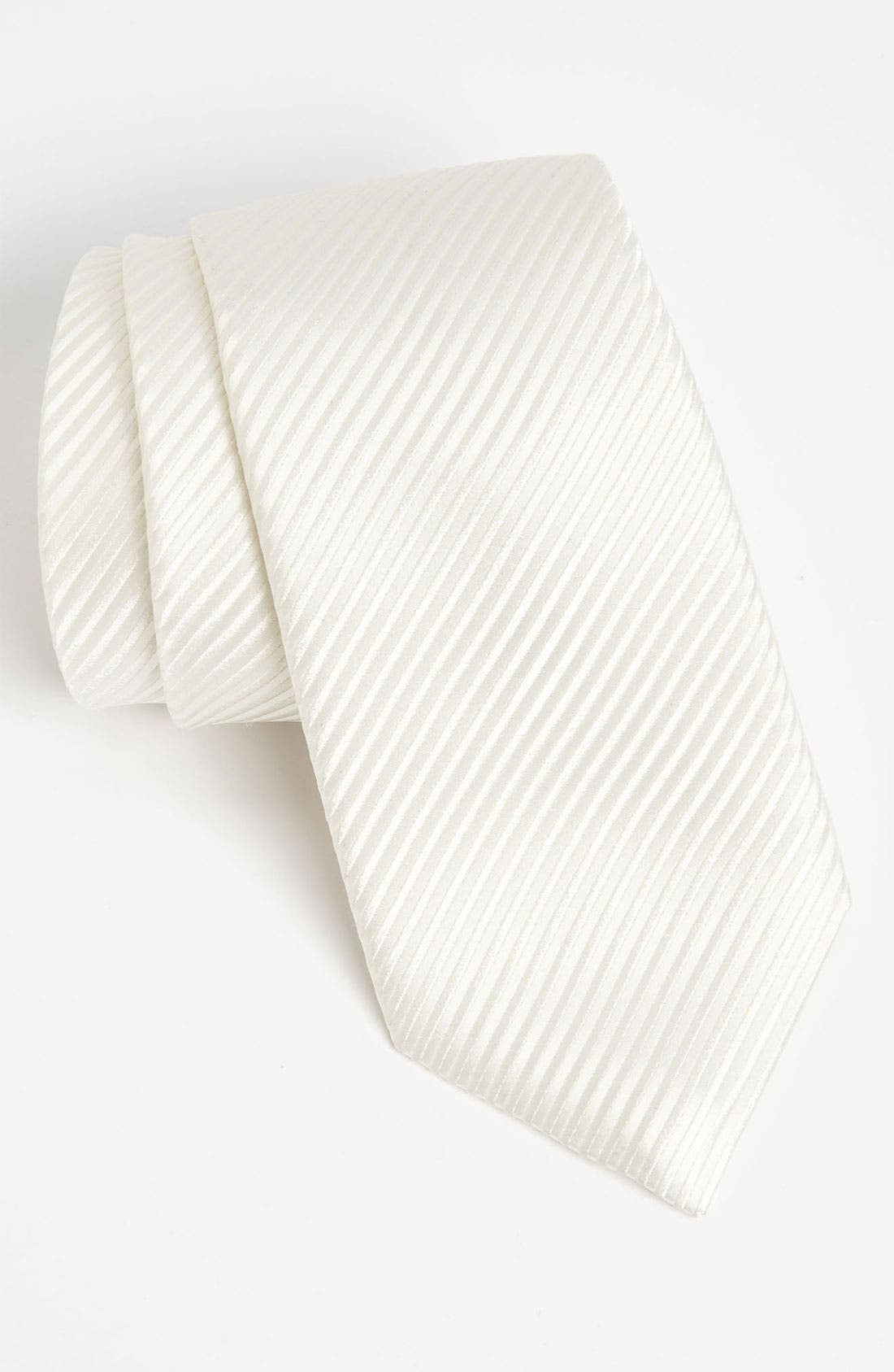 Woven Silk Tie,                             Main thumbnail 1, color,                             White