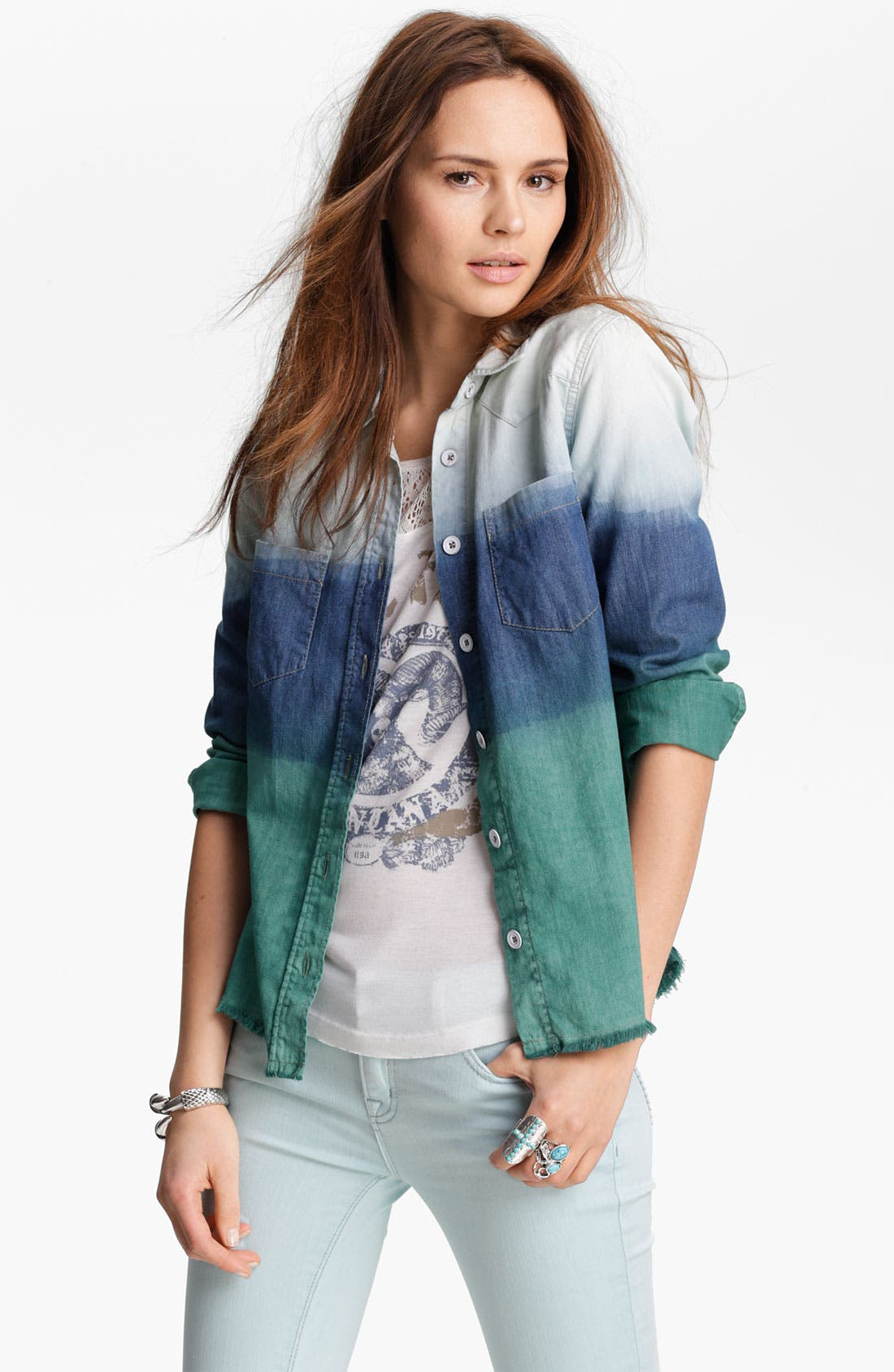 Main Image - Free People 'Before Sunrise' Ombré Cutoff Denim Shirt