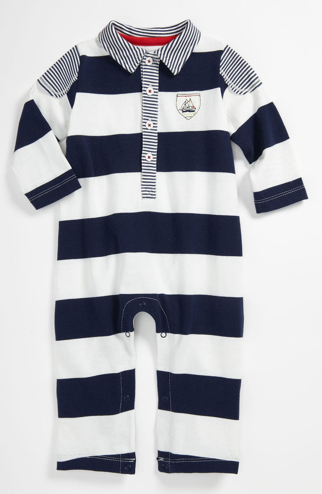 Alternate Image 1 Selected - Little Me 'Drop Anchor - Sail Stripe' Coverall (Baby)
