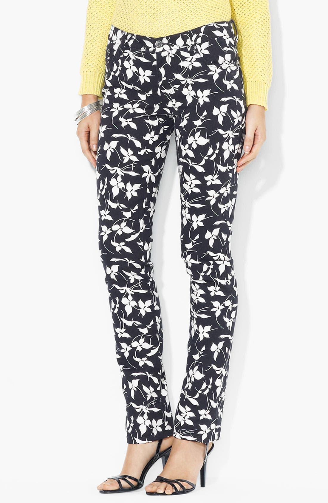 Main Image - Lauren Ralph Lauren Straight Leg Ankle Pants (Petite) (Online Only)
