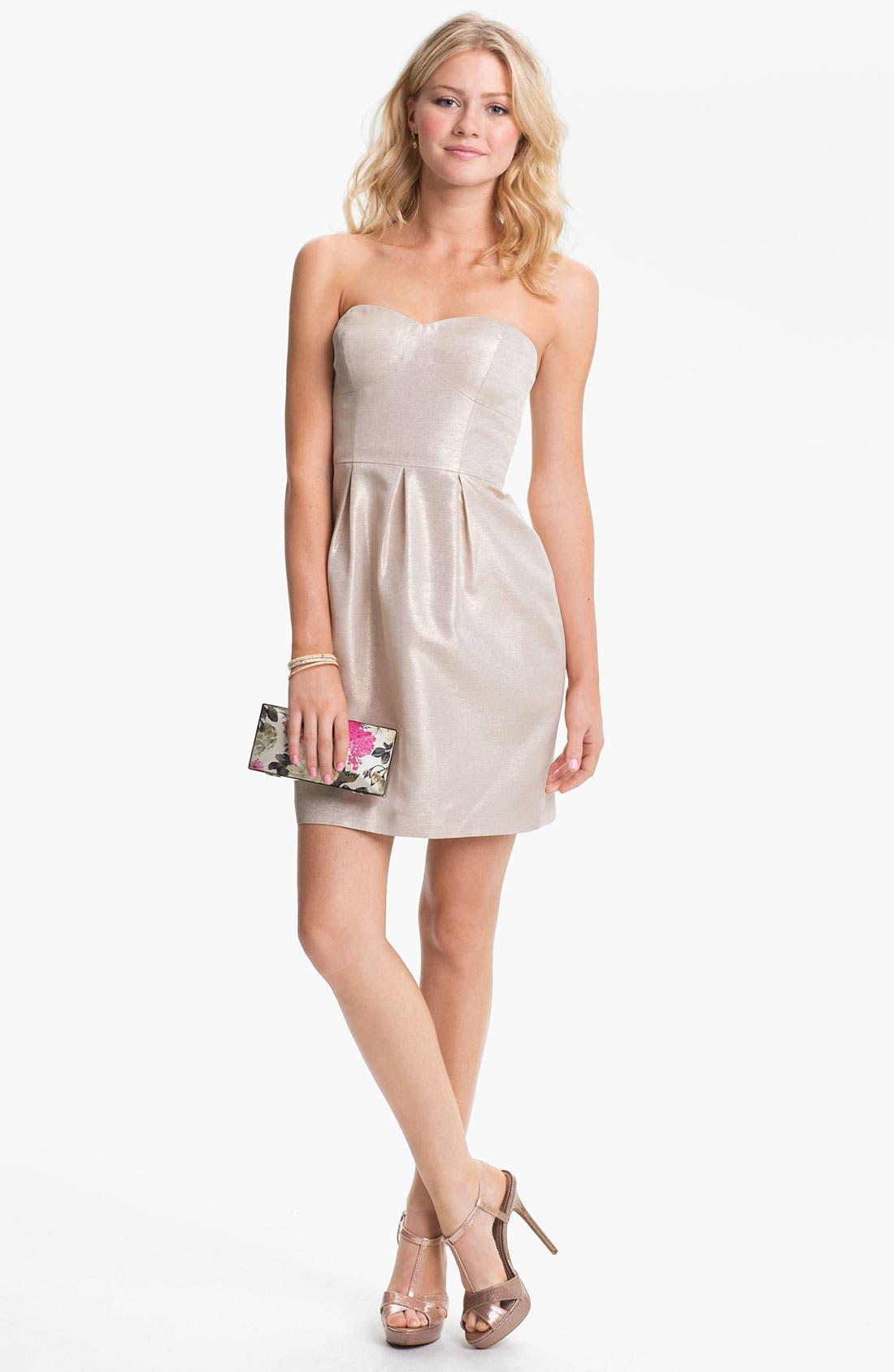 Alternate Image 1 Selected - Aidan Mattox Metallic Strapless Tulip Dress