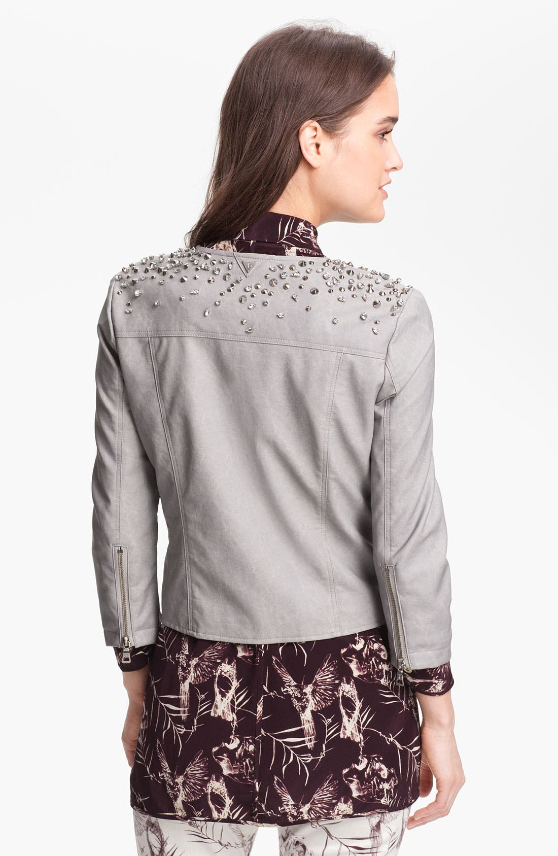 Alternate Image 2  - Sam Edelman Embellished Faux Leather Jacket (Online Only)
