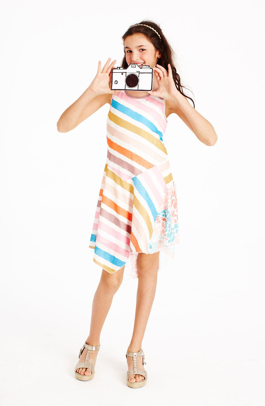 Alternate Image 2  - Truly Me Mixed Print Dress (Little Girls & Big Girls)
