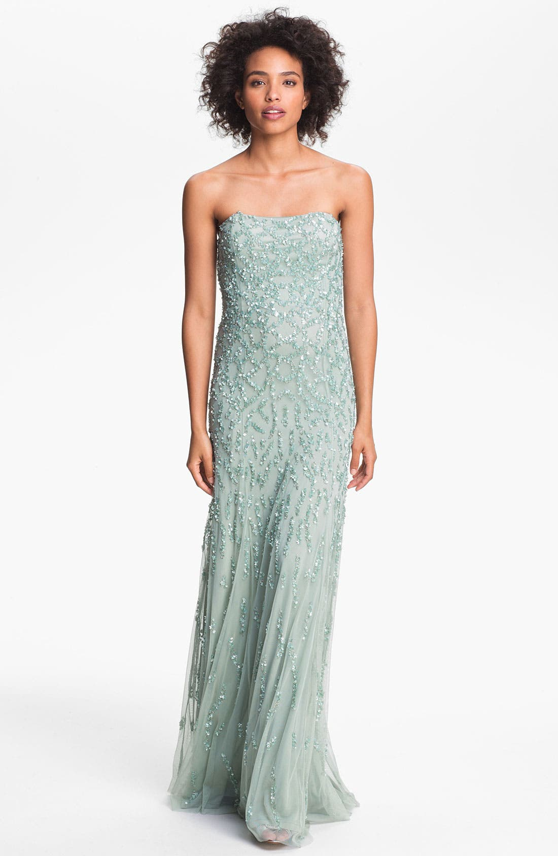 Alternate Image 1 Selected - Adrianna Papell Strapless Beaded Mesh Gown (Online Only)