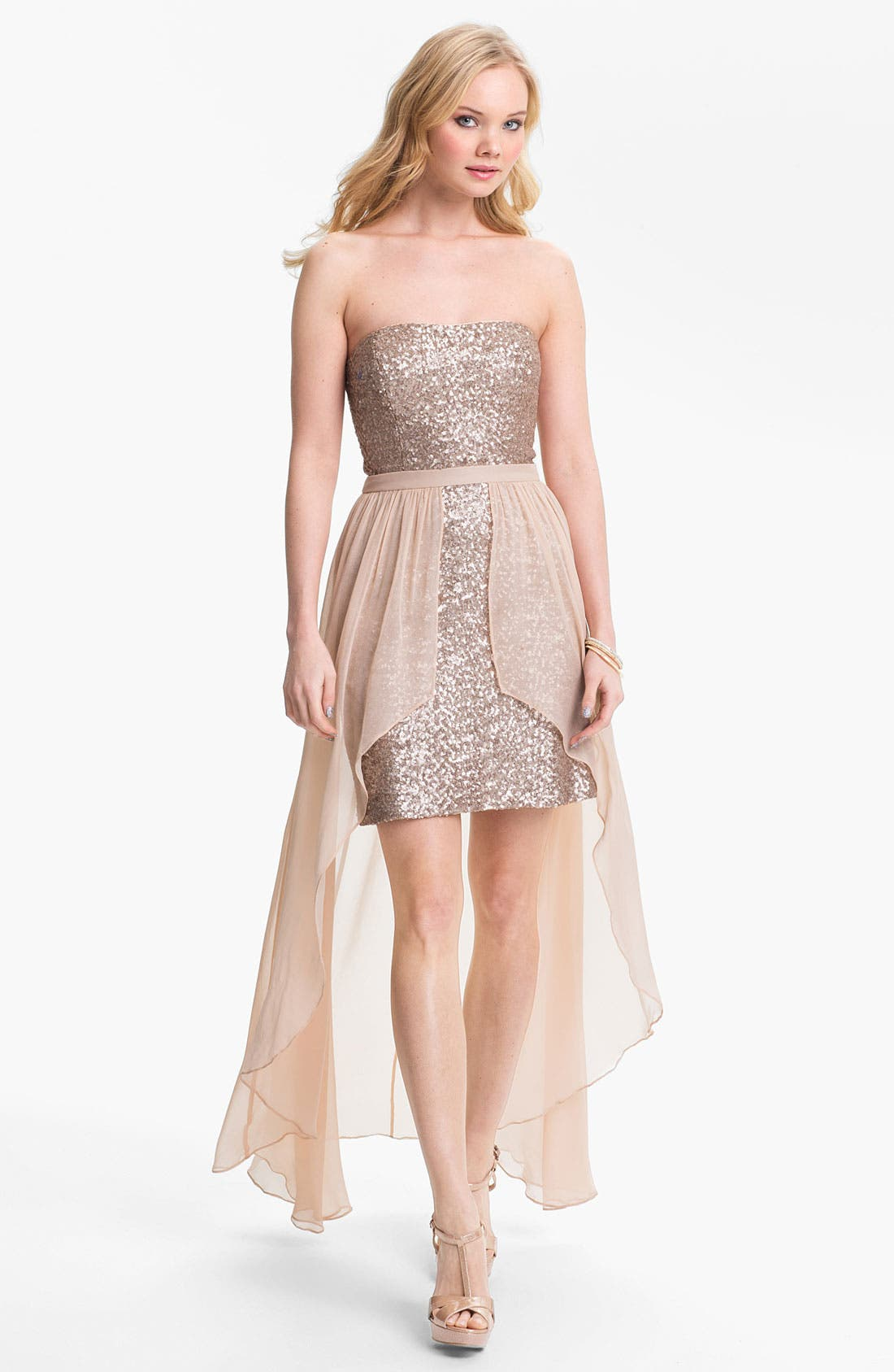 Alternate Image 1 Selected - Aidan Mattox Chiffon Overlay Sequin Dress (Online Only)