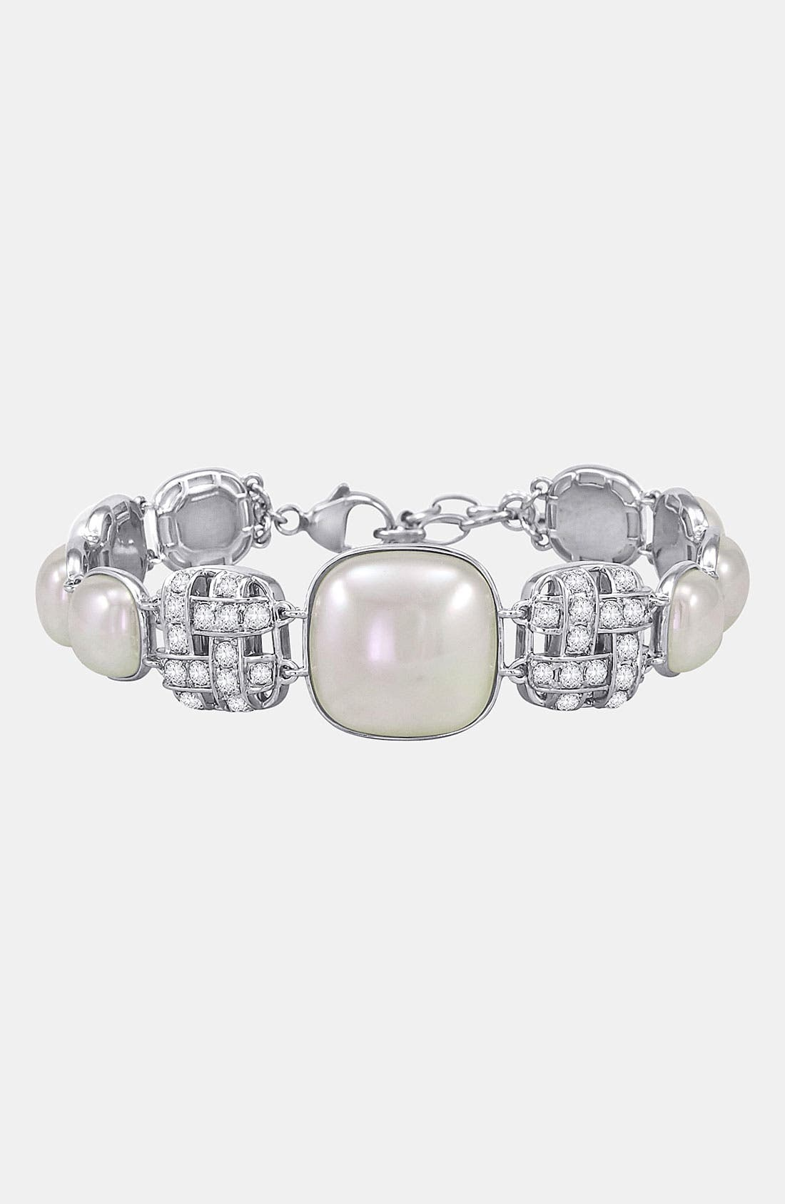Alternate Image 1 Selected - Majorica 'Graphic Contrast' Pearl & Cubic Zirconia Bracelet