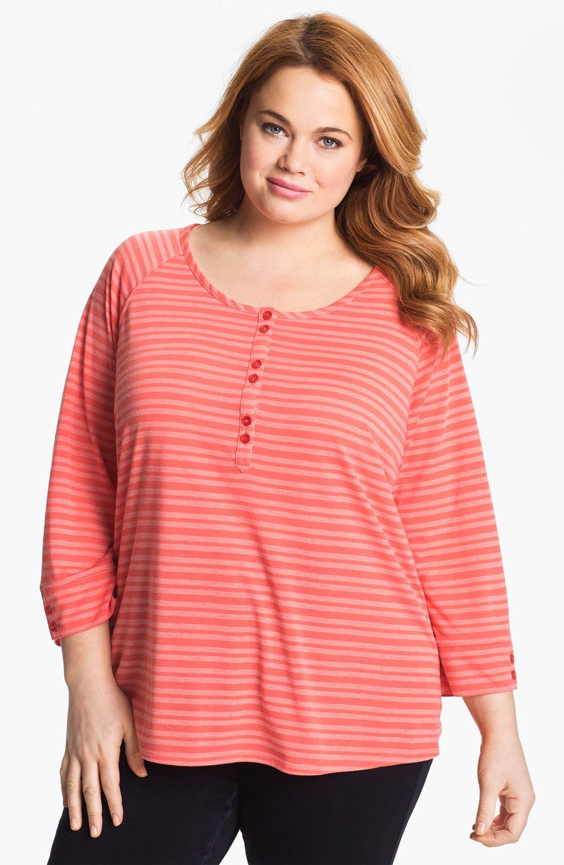 Main Image - Sejour Stripe Henley Top (Plus Size)