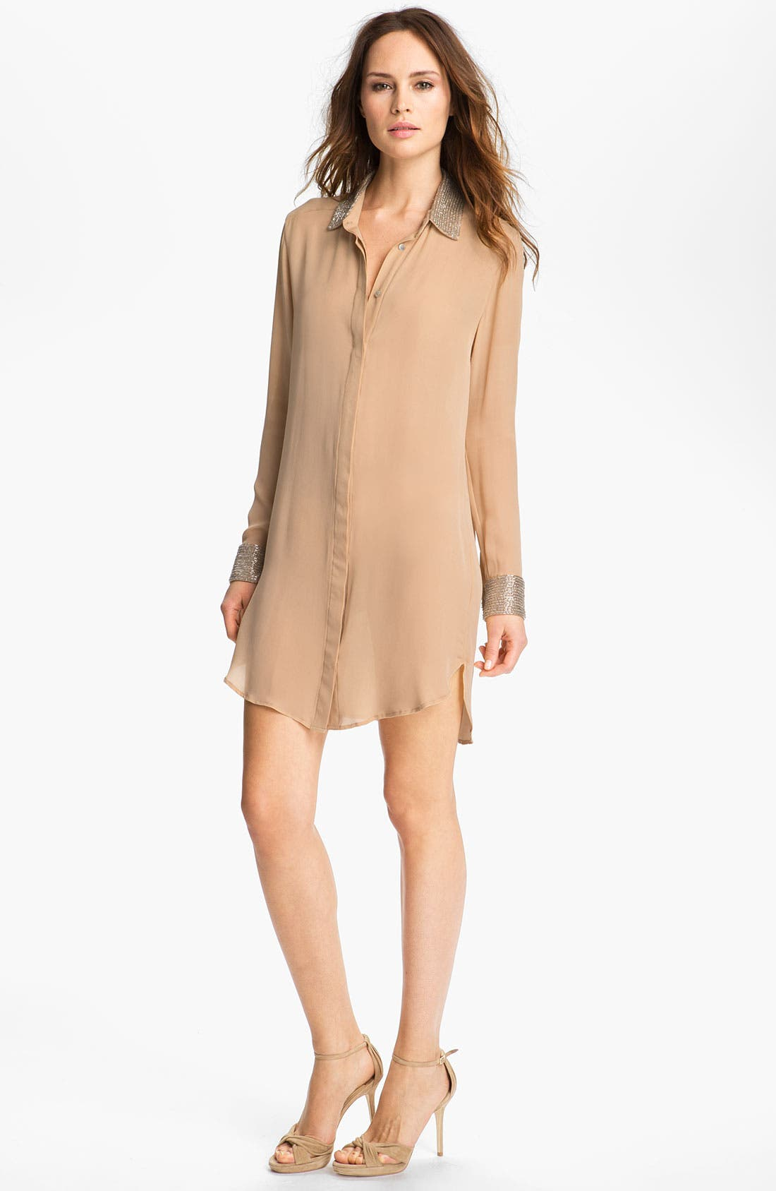 Main Image - Haute Hippie Embellished Silk Shirtdress