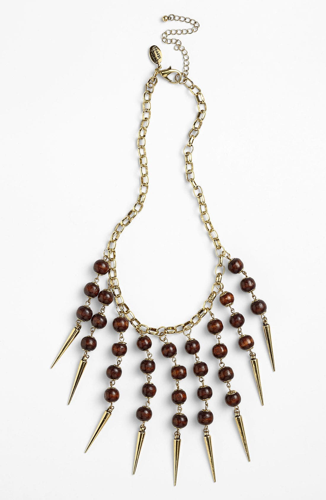 Alternate Image 1 Selected - Spring Street Design Group Wood & Spike Statement Necklace