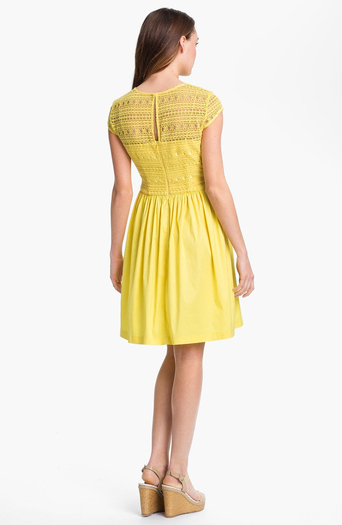 Alternate Image 2  - Suzi Chin for Maggy Boutique Crochet Fit & Flare Dress