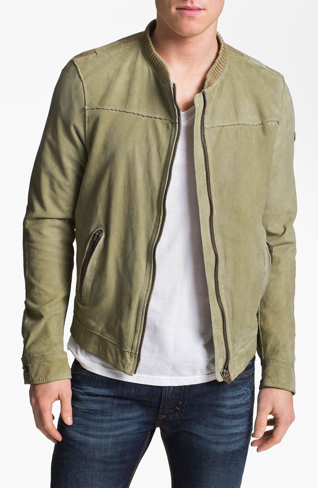 Alternate Image 1 Selected - DIESEL® 'Lisko' Lamb Leather Knit Jacket