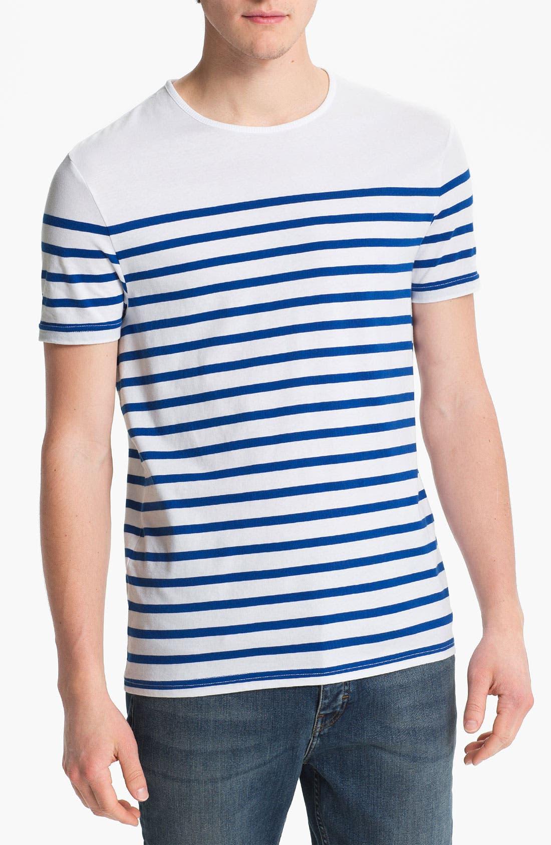 Main Image - Topman 'Surf the Web' Stripe T-Shirt
