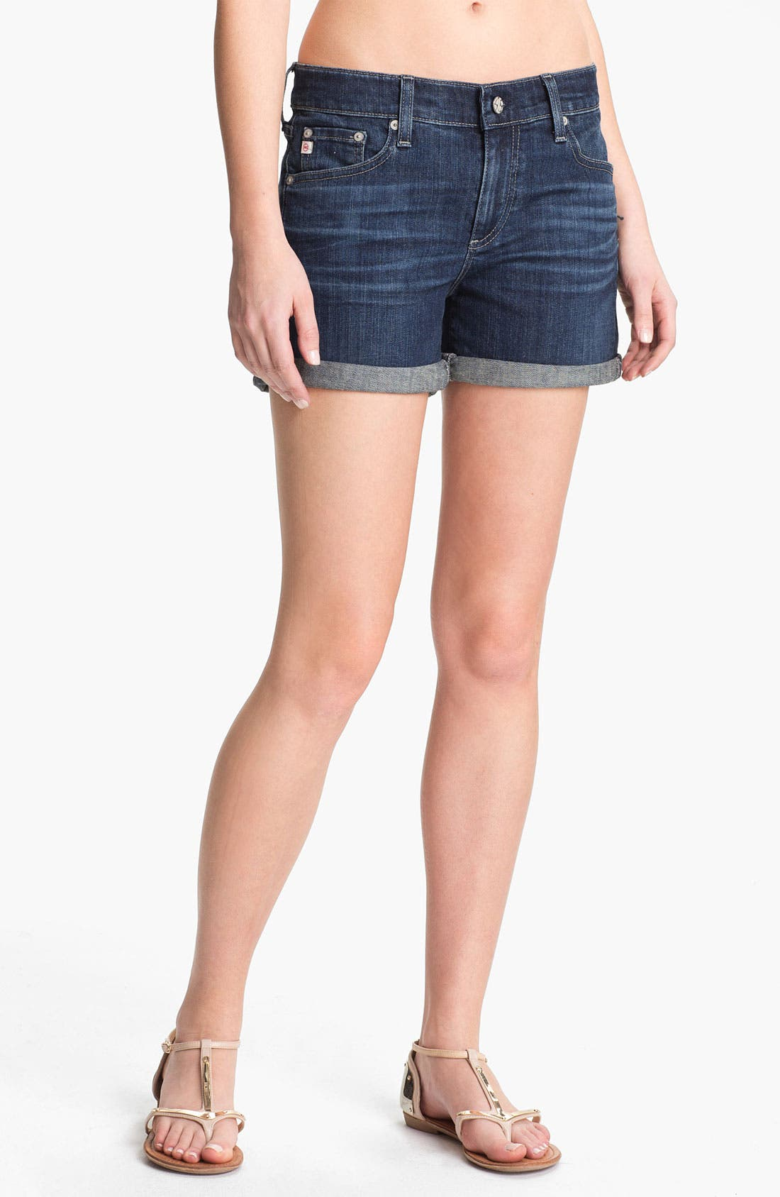 Alternate Image 1 Selected - AG 'Hailey' Cuff Denim Shorts (Four Year Brisk Blue)