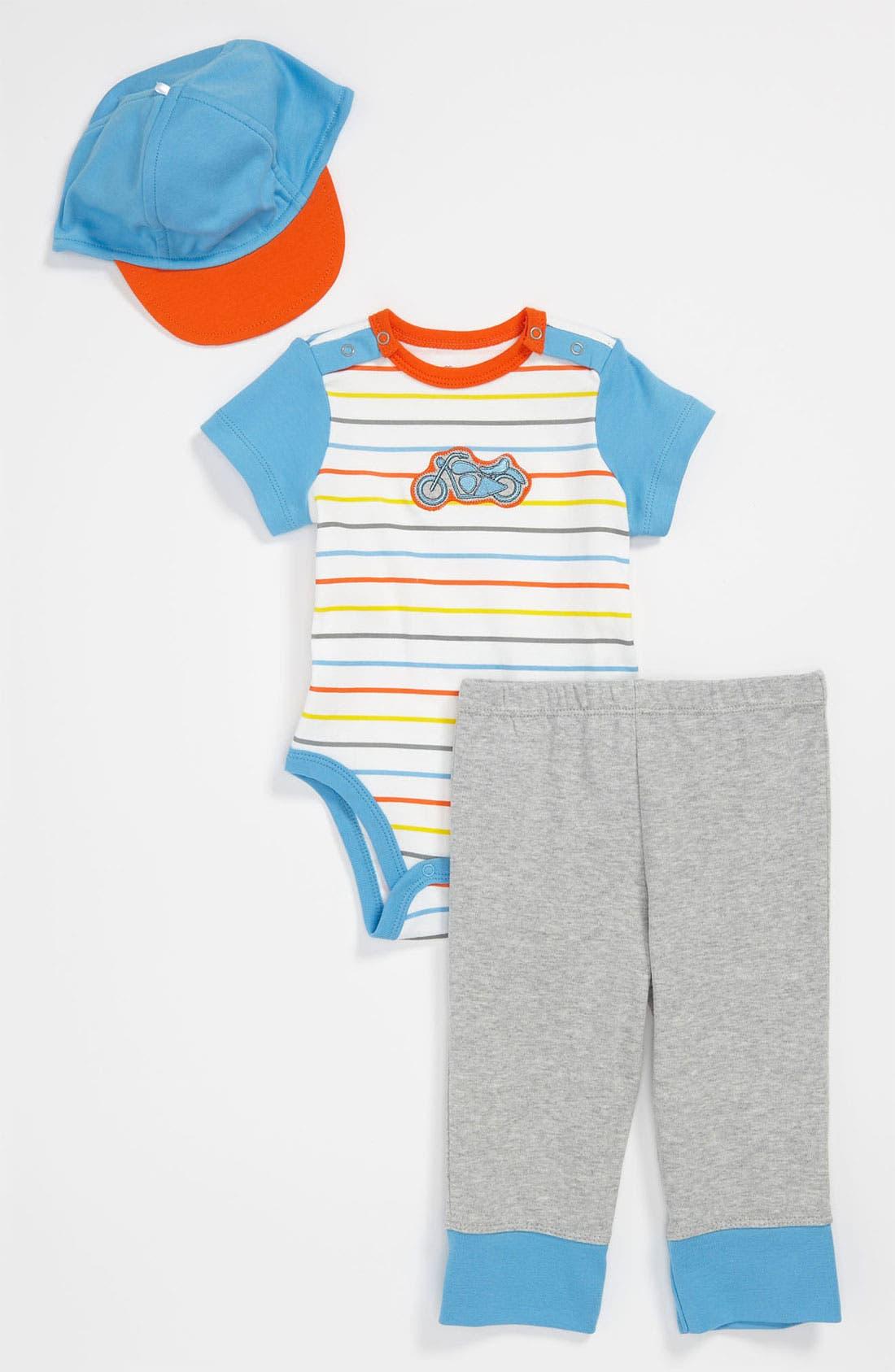 Alternate Image 1 Selected - Offspring Bodysuit, Pants & Hat (Baby)