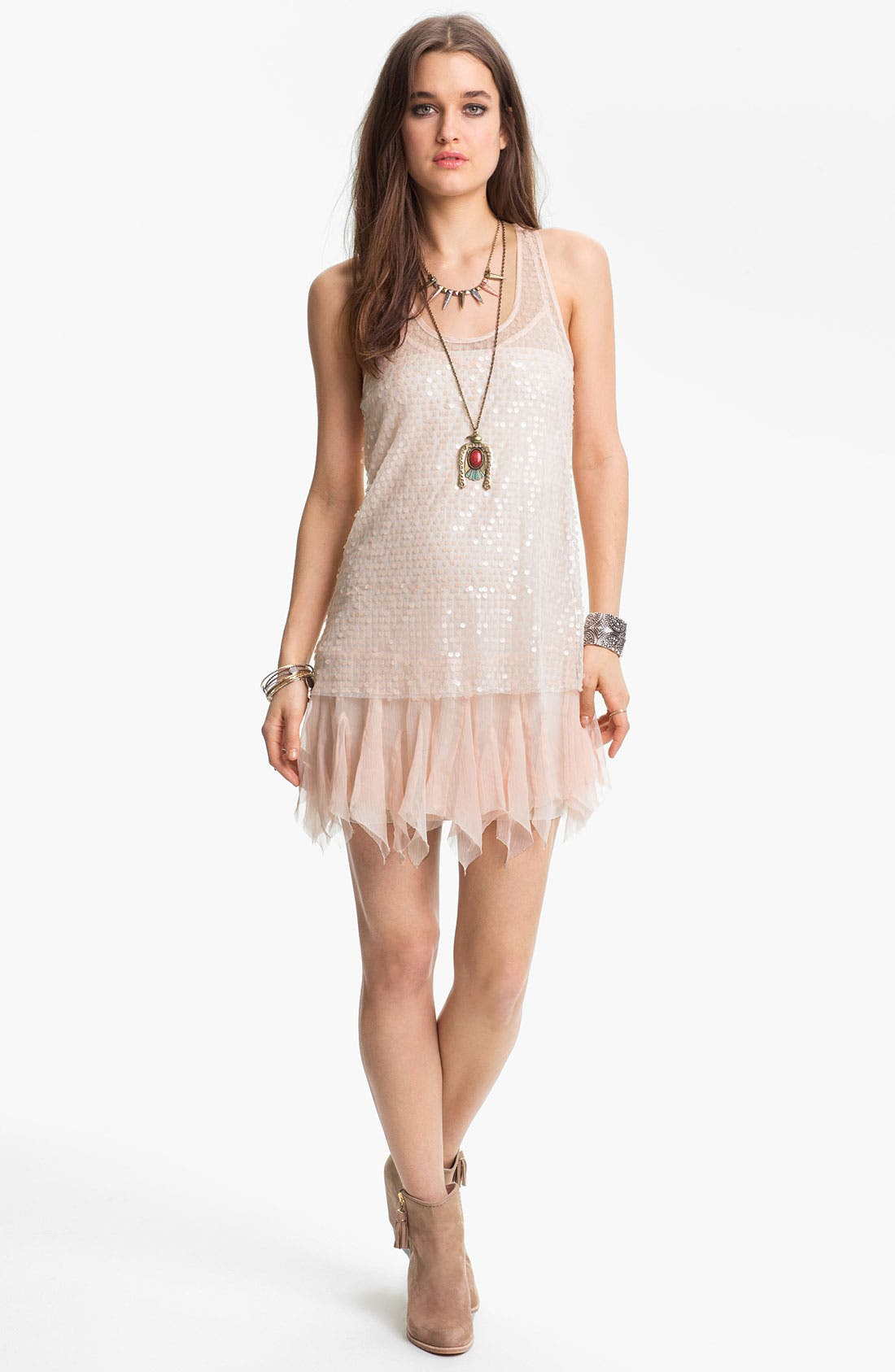 Main Image - Free People Sheer Sequin Slipdress