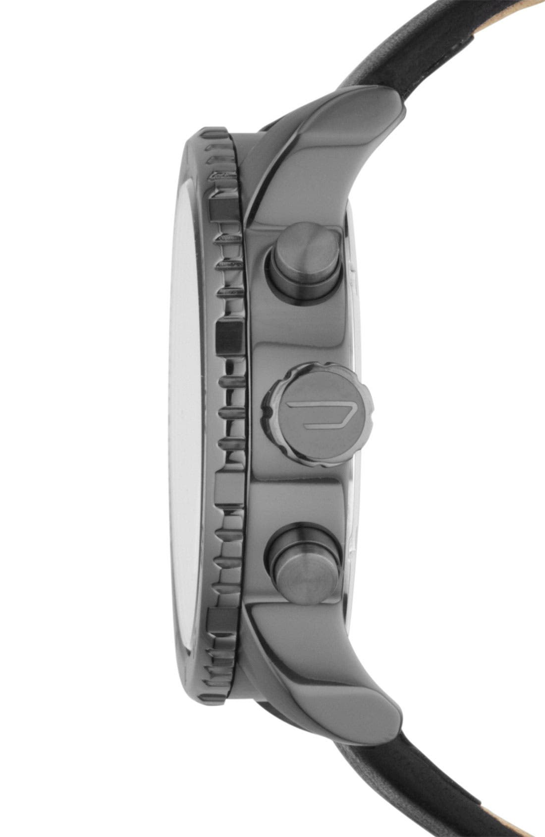 Alternate Image 2  - DIESEL® 'Franchise' Chronograph Leather Strap Watch, 42mm