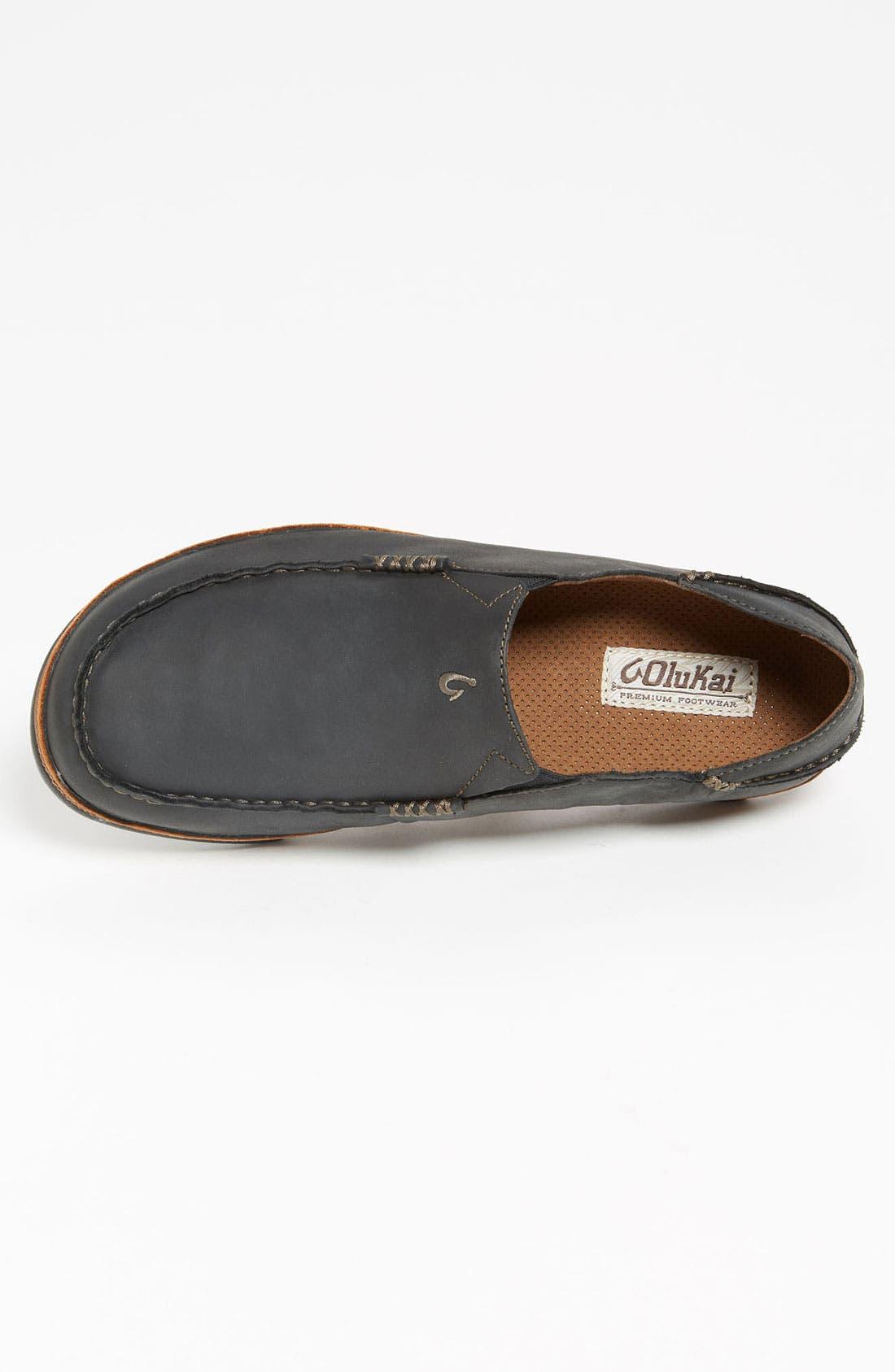 'Moloa' Slip-On,                             Alternate thumbnail 3, color,                             Black/ Toffee Leather