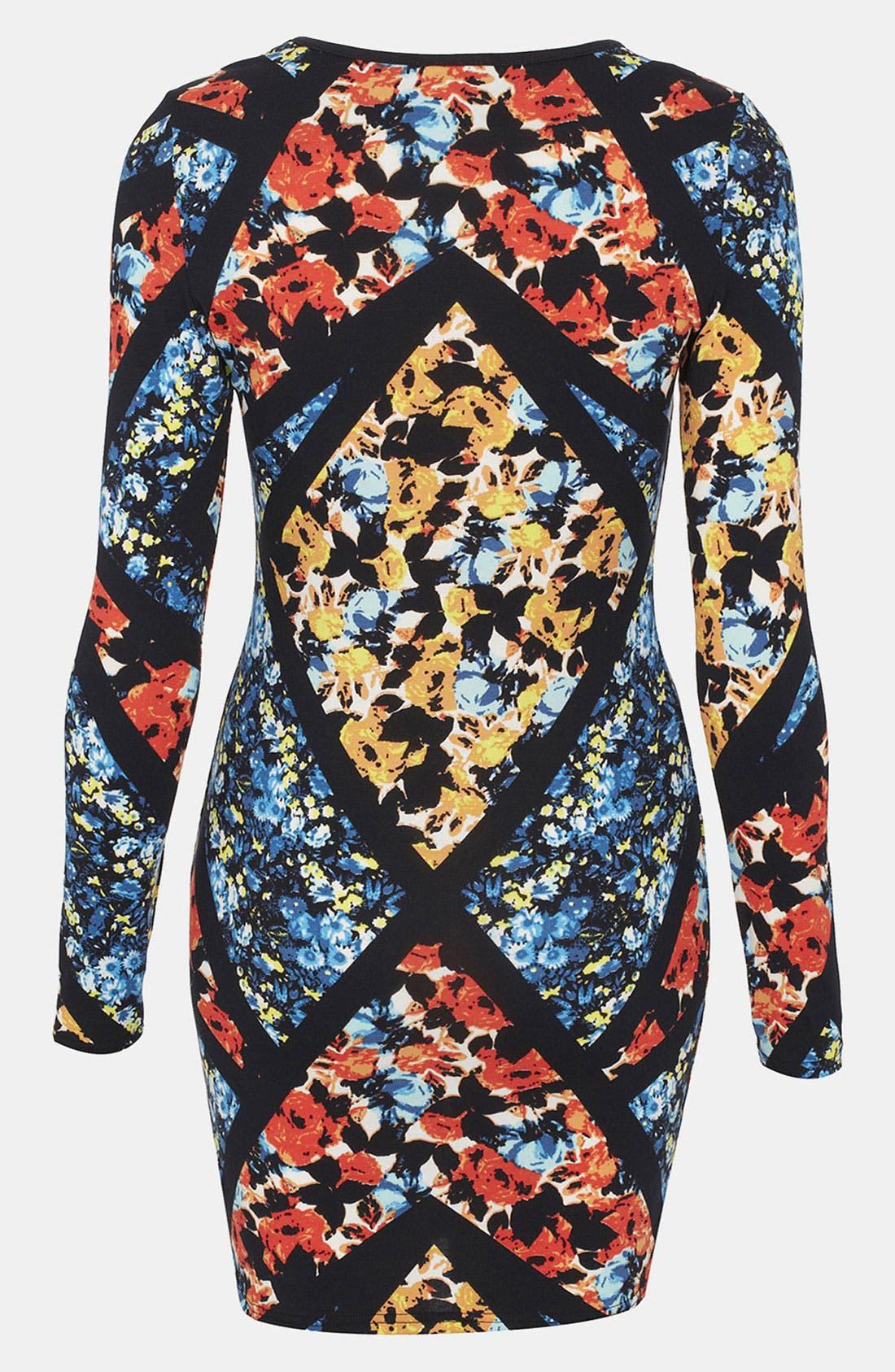 Alternate Image 2  - Topshop Floral Print Body-Con Dress