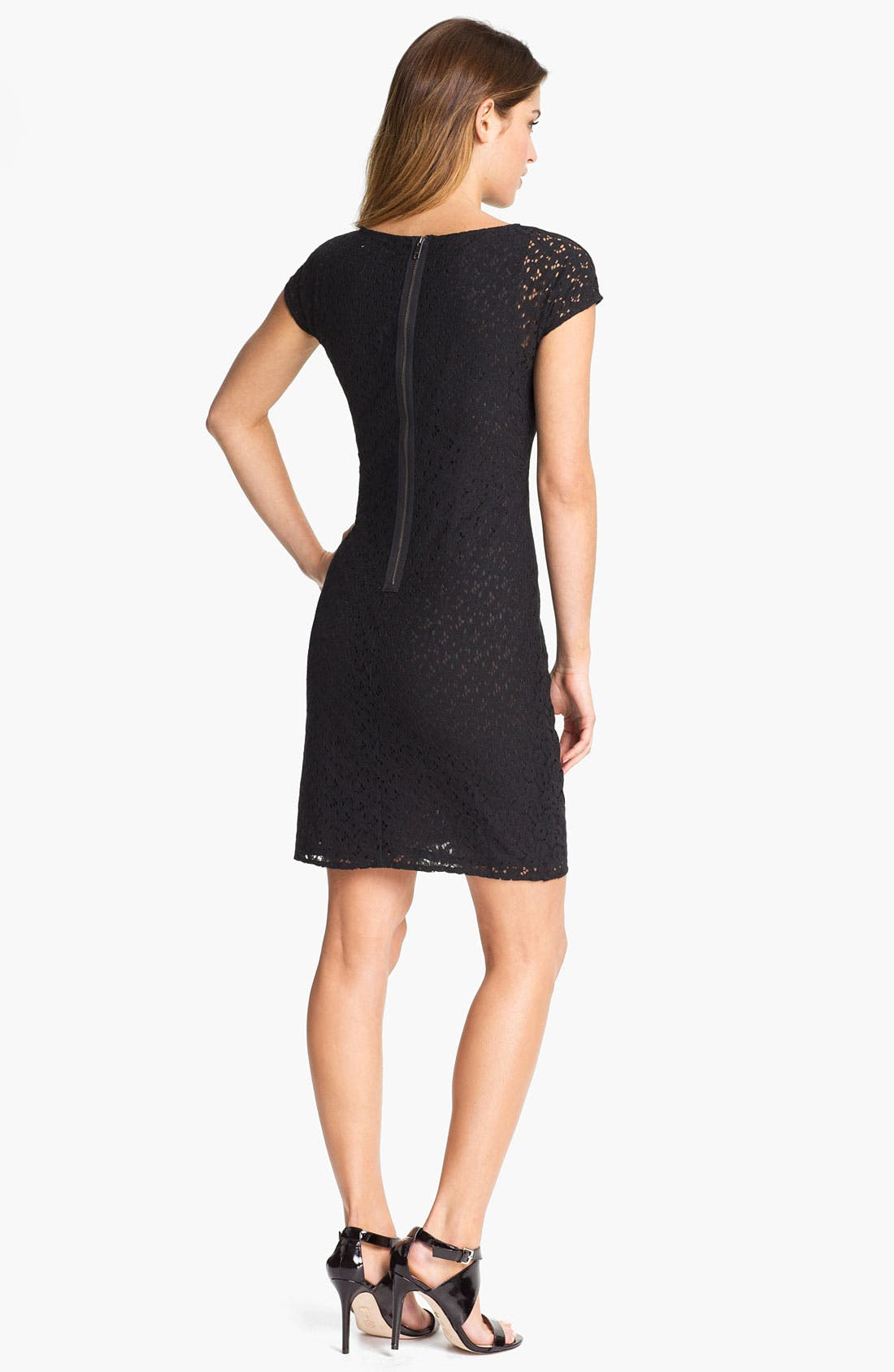 Alternate Image 2  - DKNYC Cap Sleeve Lace Dress