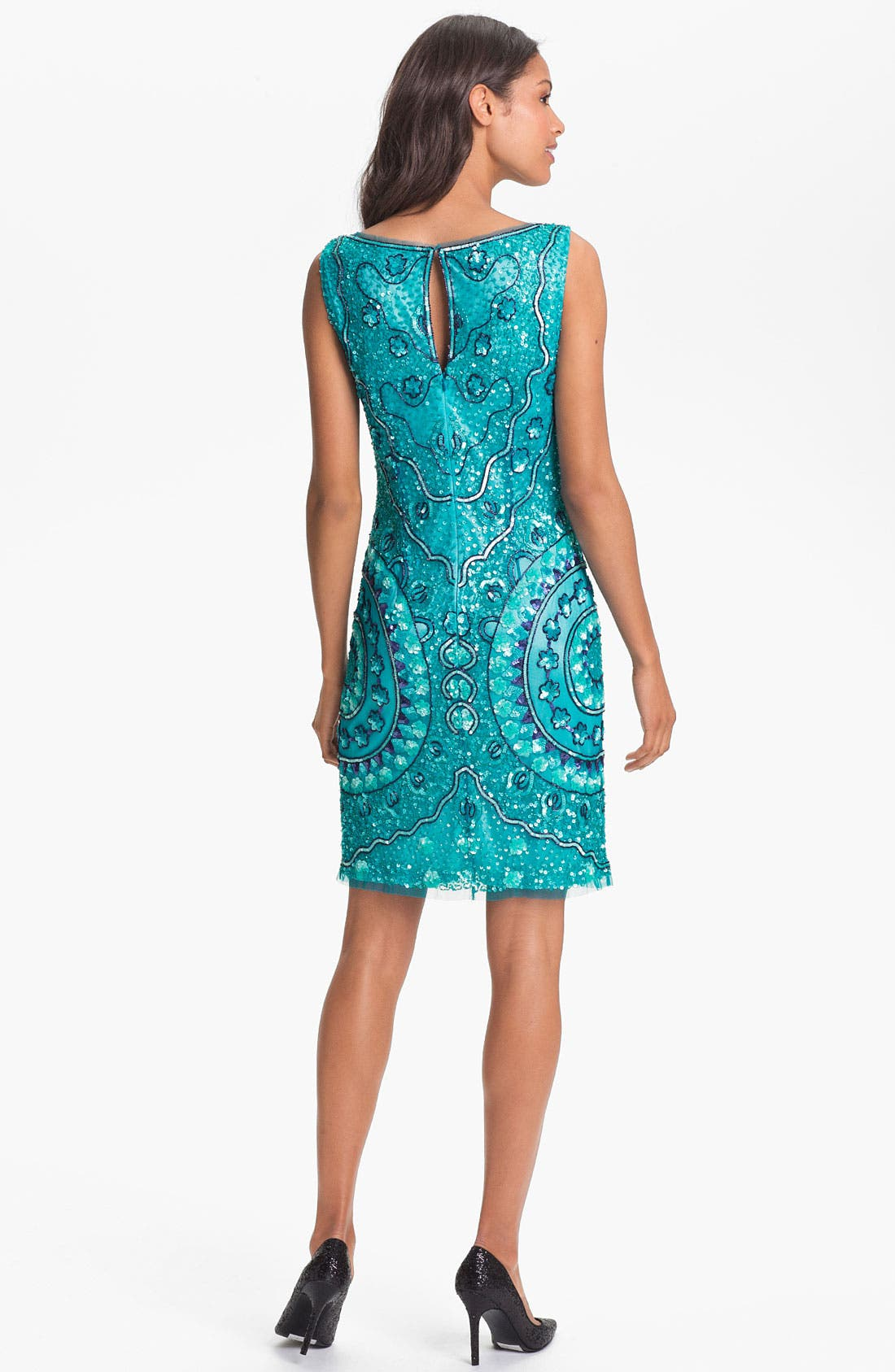 Alternate Image 2  - Aidan Mattox Sleeveless Sequin Tulle Dress