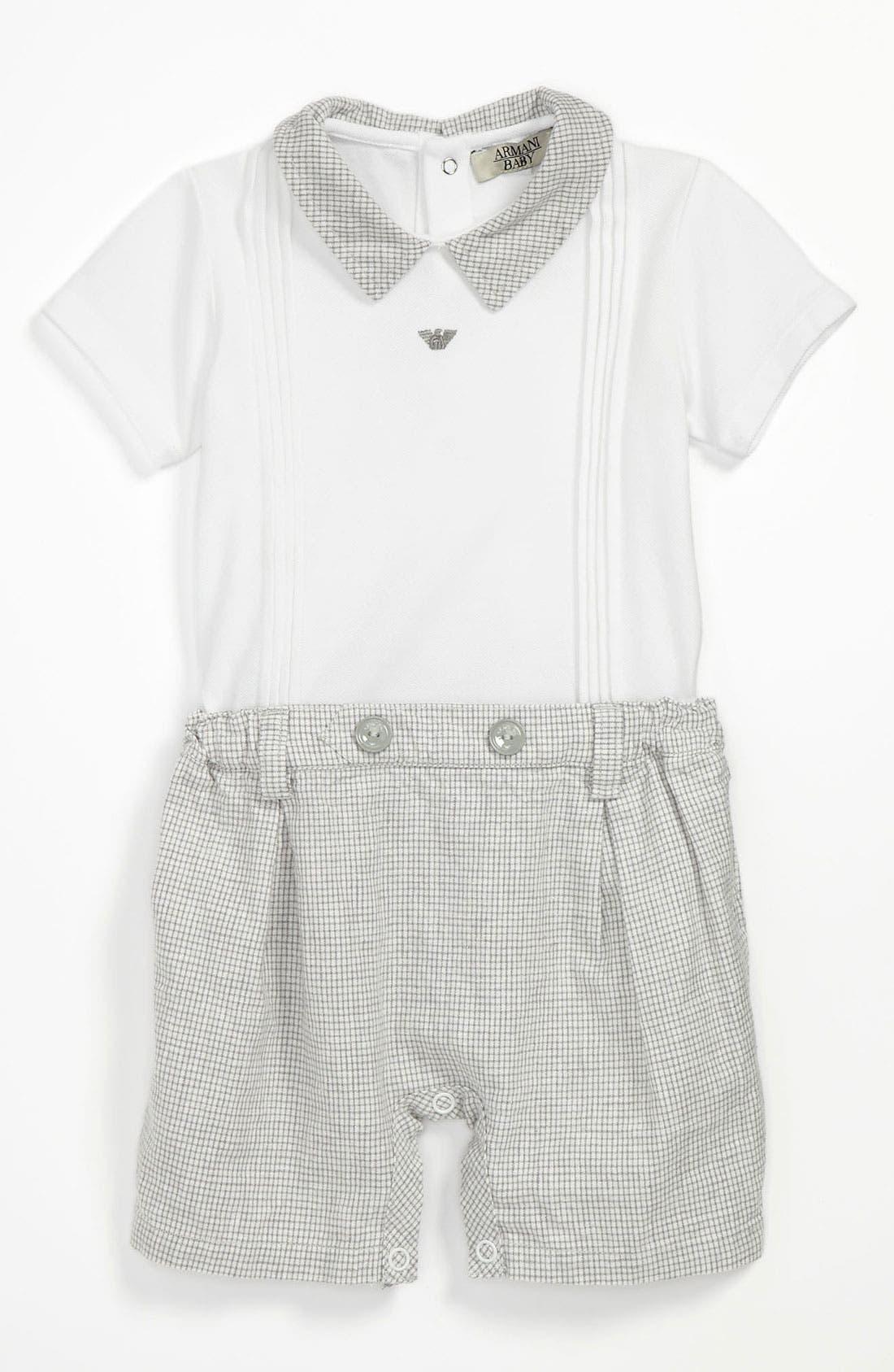 Alternate Image 1 Selected - Armani Junior Romper (Baby)