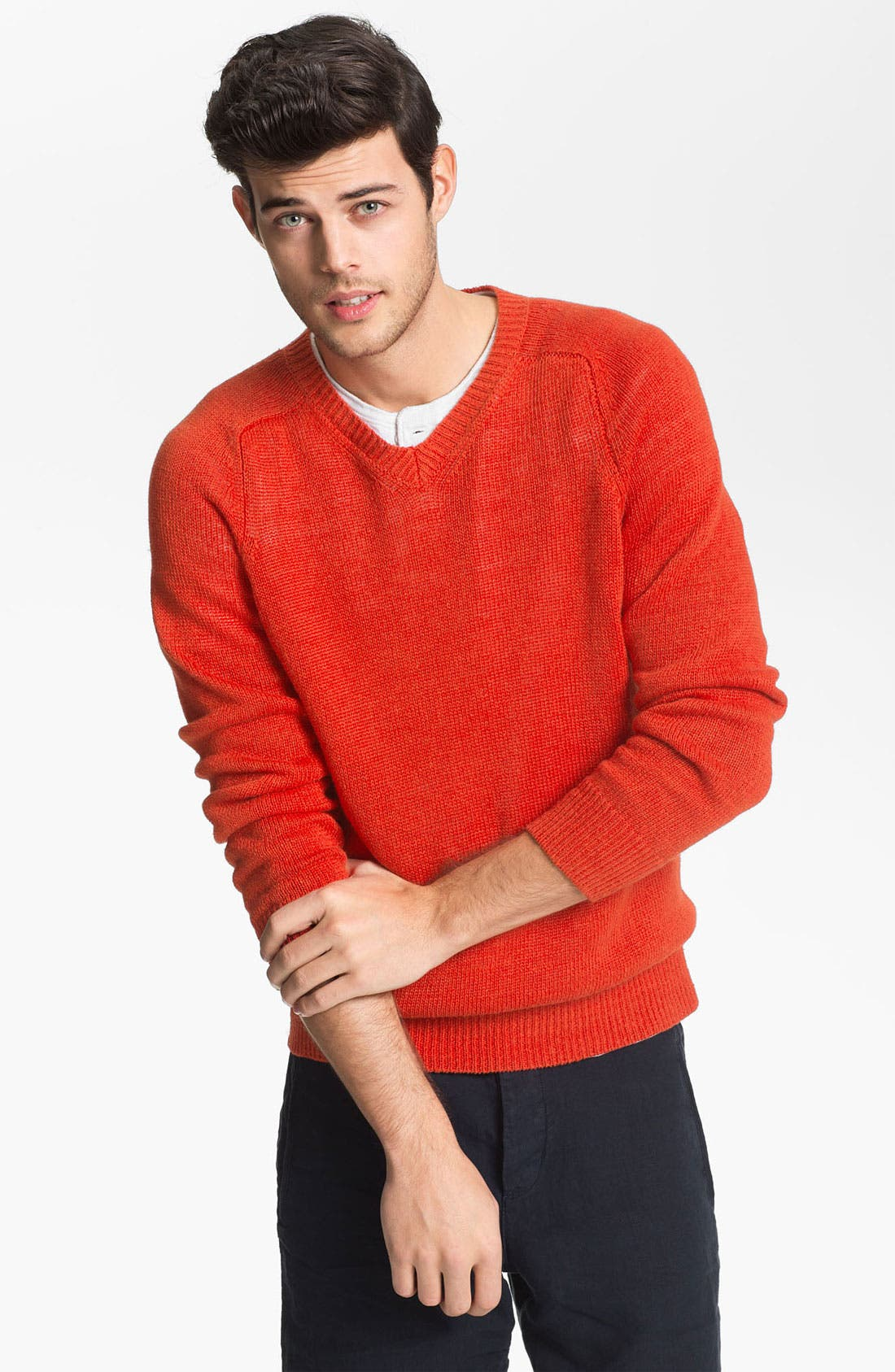 Alternate Image 1 Selected - Vince Linen V-Neck Sweater