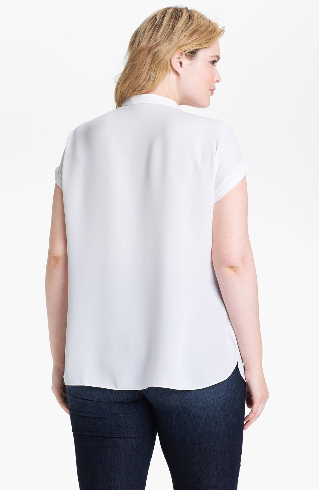 Alternate Image 2  - Tahari Woman 'Valeria' Contrast Trim Blouse (Plus)