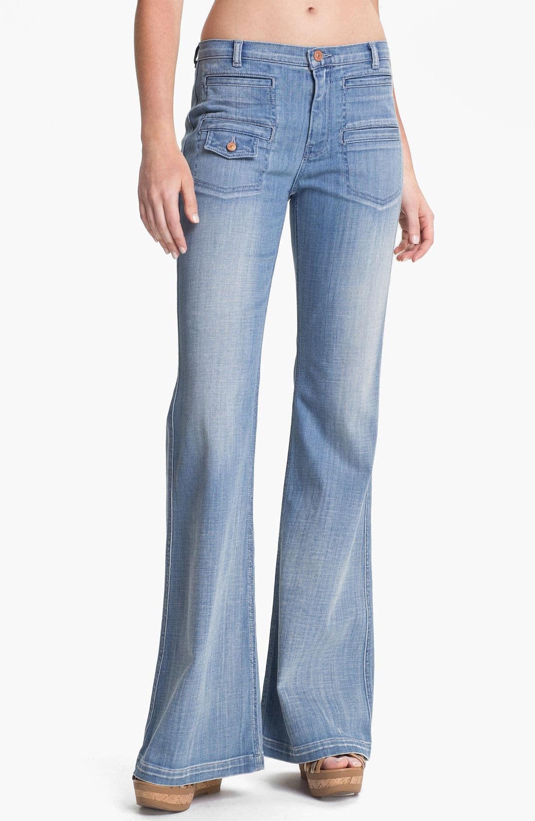 Main Image - 7 For All Mankind® 'Georgia' Wide Leg Stretch Jeans (Authentic Light)