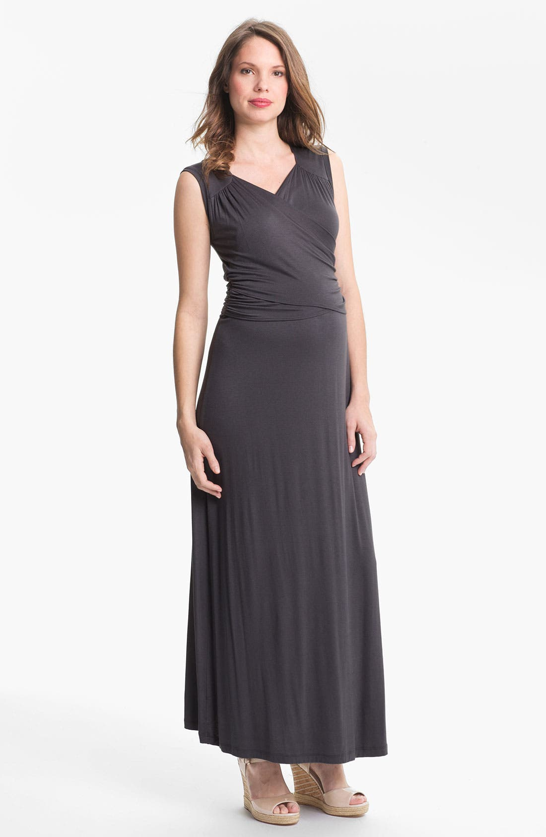 Alternate Image 1 Selected - Japanese Weekend Faux Wrap Maternity Maxi Dress