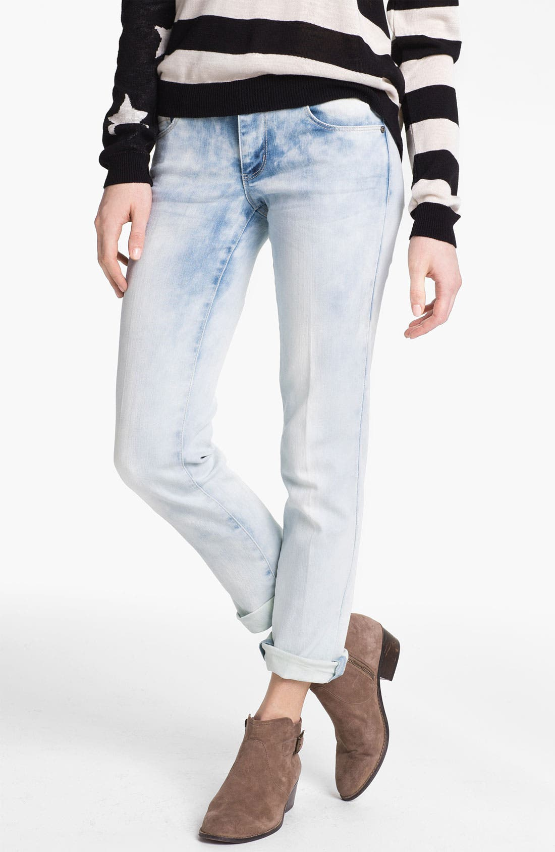 Alternate Image 1 Selected - Jolt Acid Wash Boyfriend Skinny Jeans (Juniors)