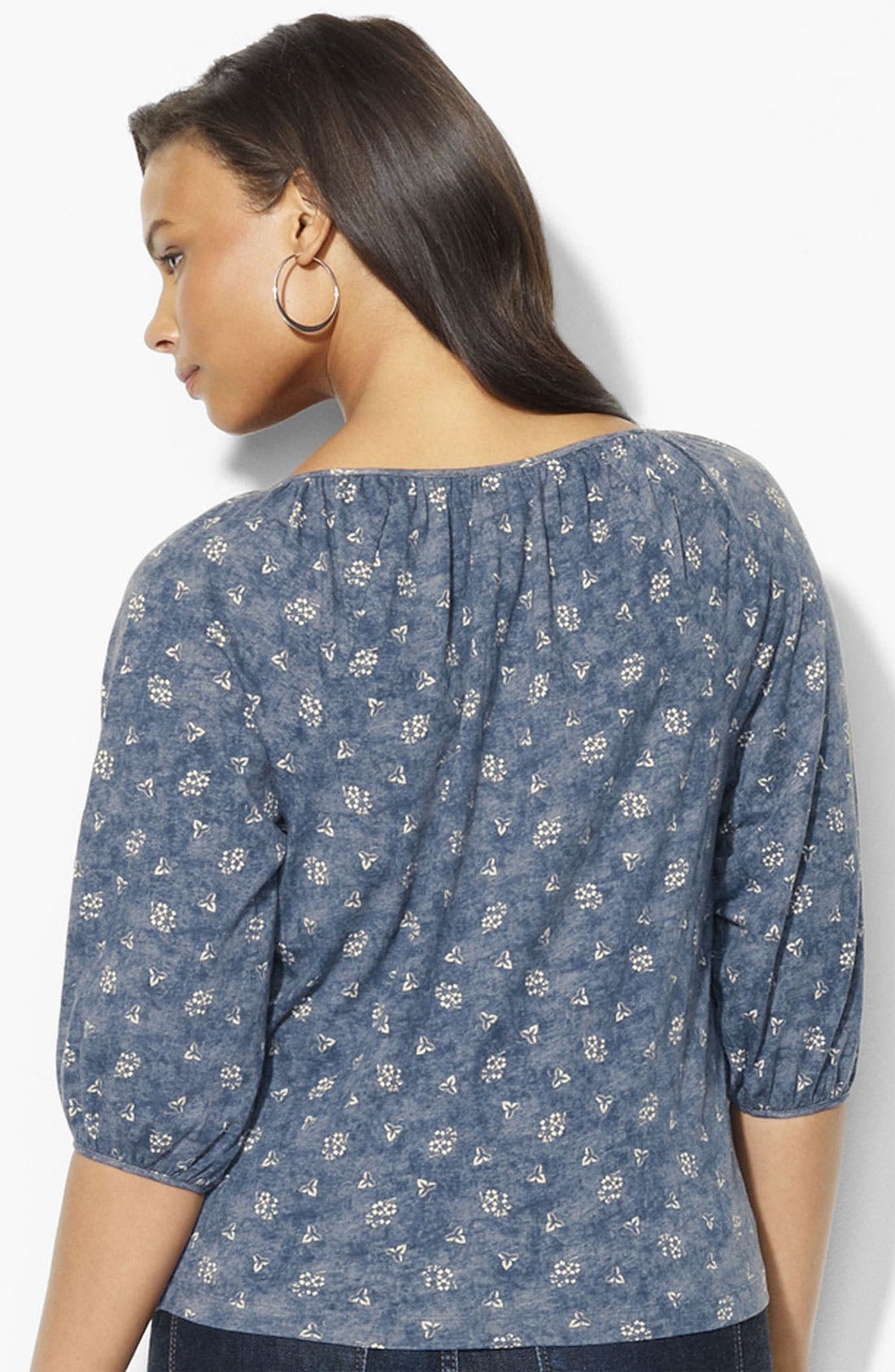 Alternate Image 2  - Lauren Ralph Lauren Print Cotton Top (Plus)