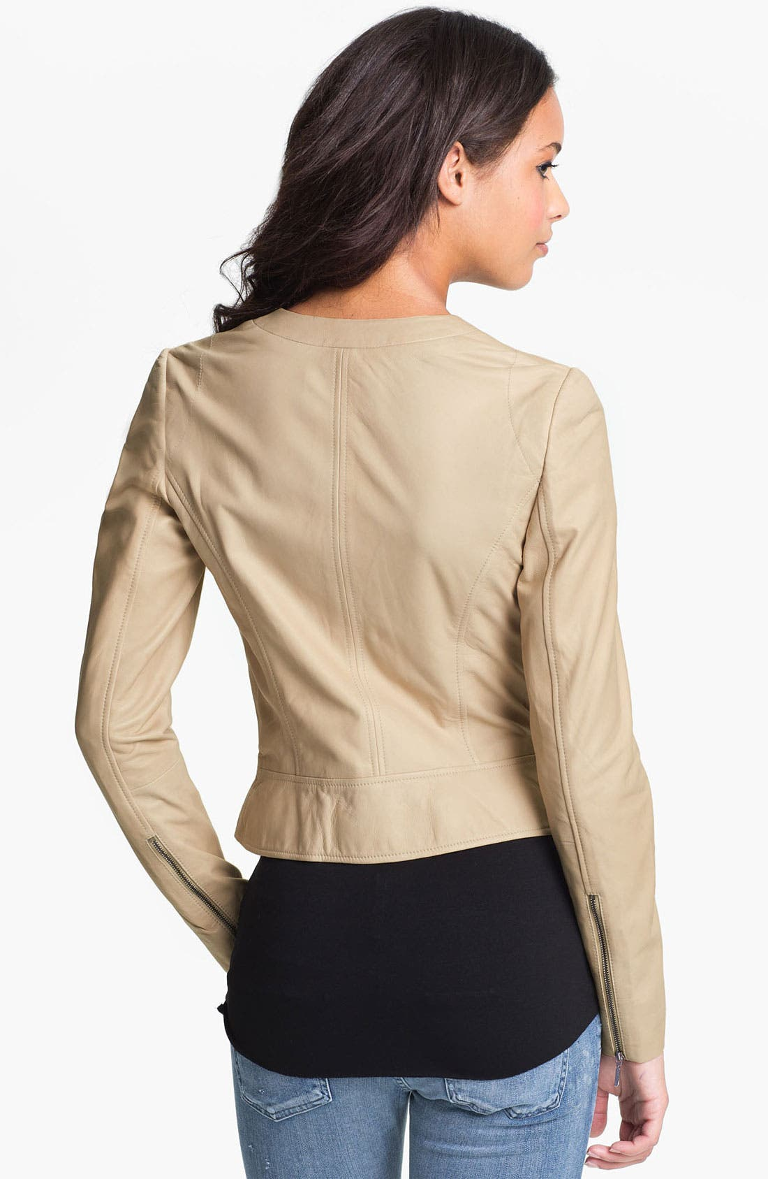 Alternate Image 2  - Hinge® Scallop Collar Leather Peplum Jacket