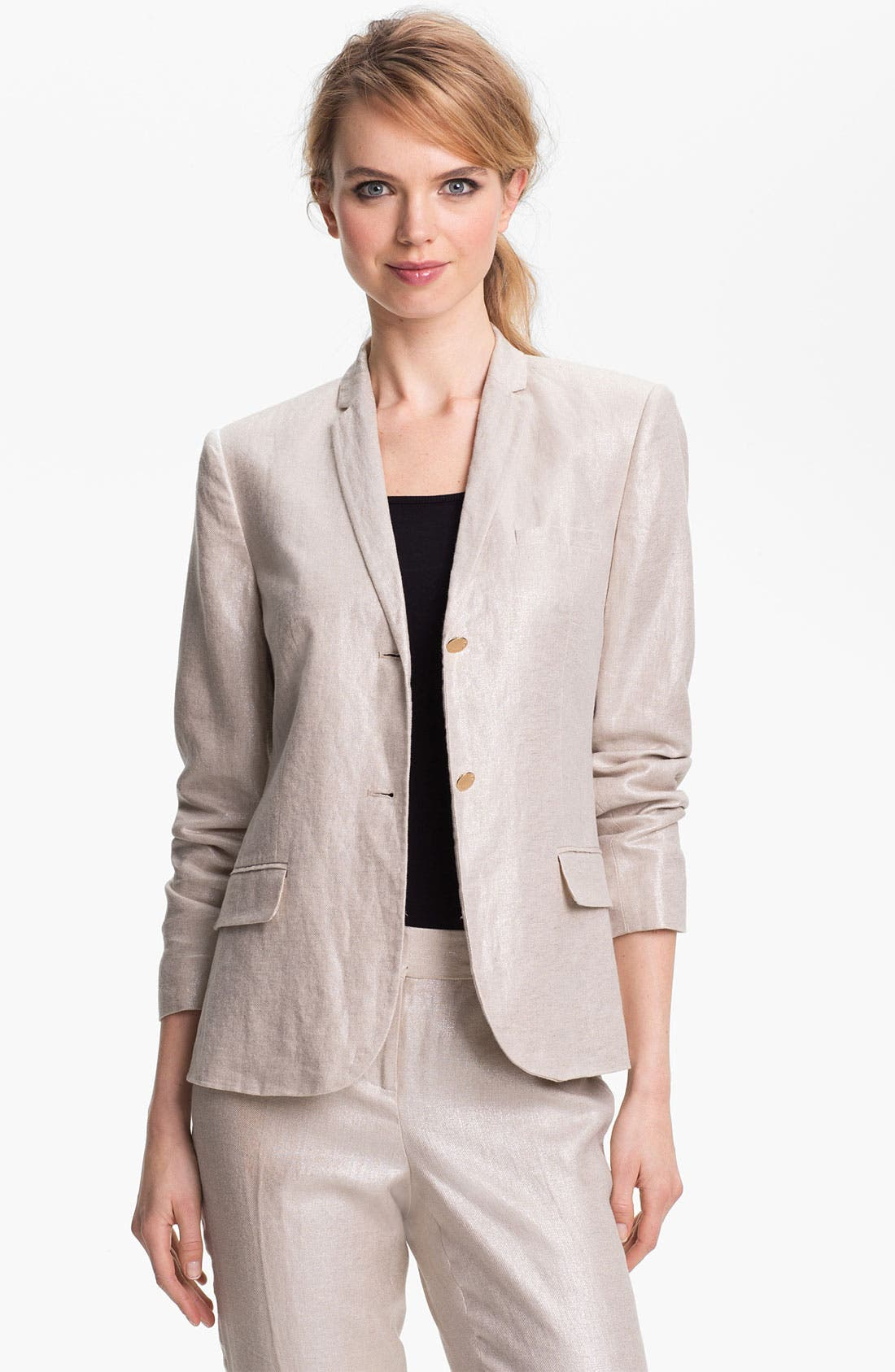 Main Image - Vince Camuto Two Button Foiled Linen Blazer (Petite)